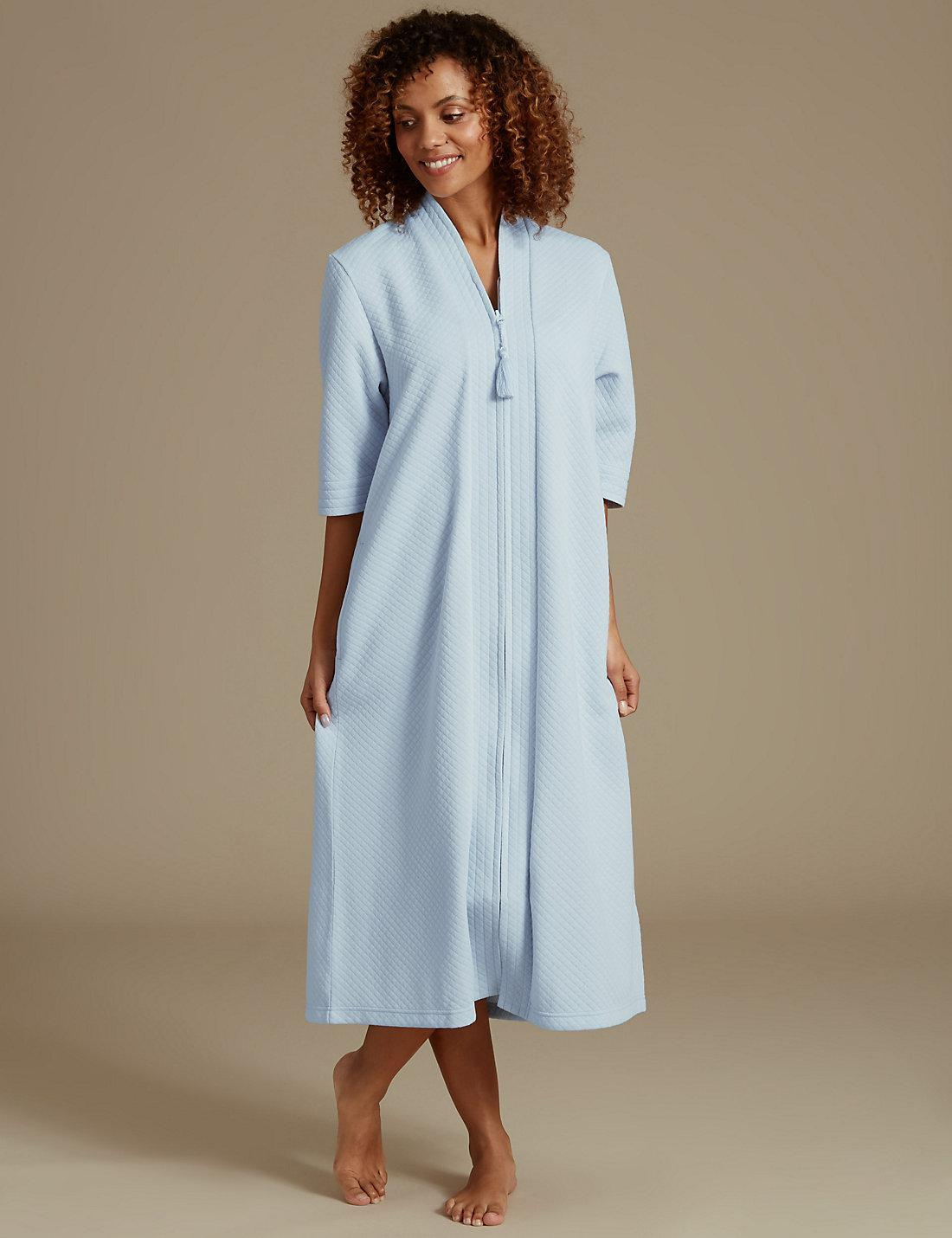 Lyst - Marks & spencer Quilted Zip Through Dressing Gown in Blue