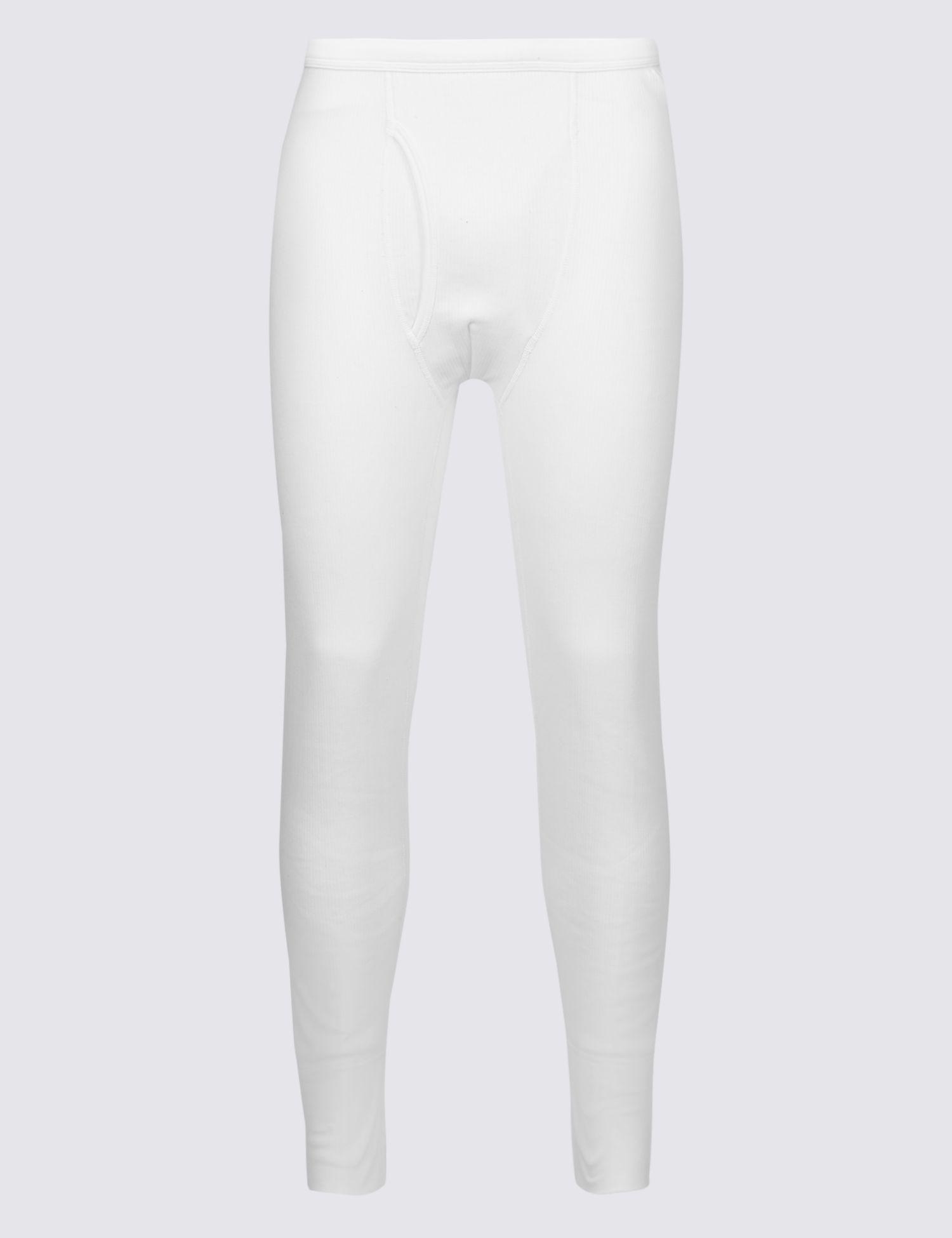 9efcb37da Marks & Spencer Thermal Cotton Blend Long Johns in White for Men - Lyst