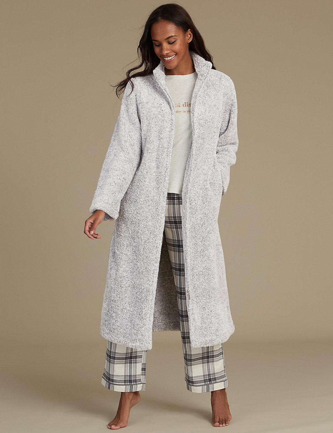 Lyst Marks Spencer Long Sleeve Zip Up Dressing Gown In Gray