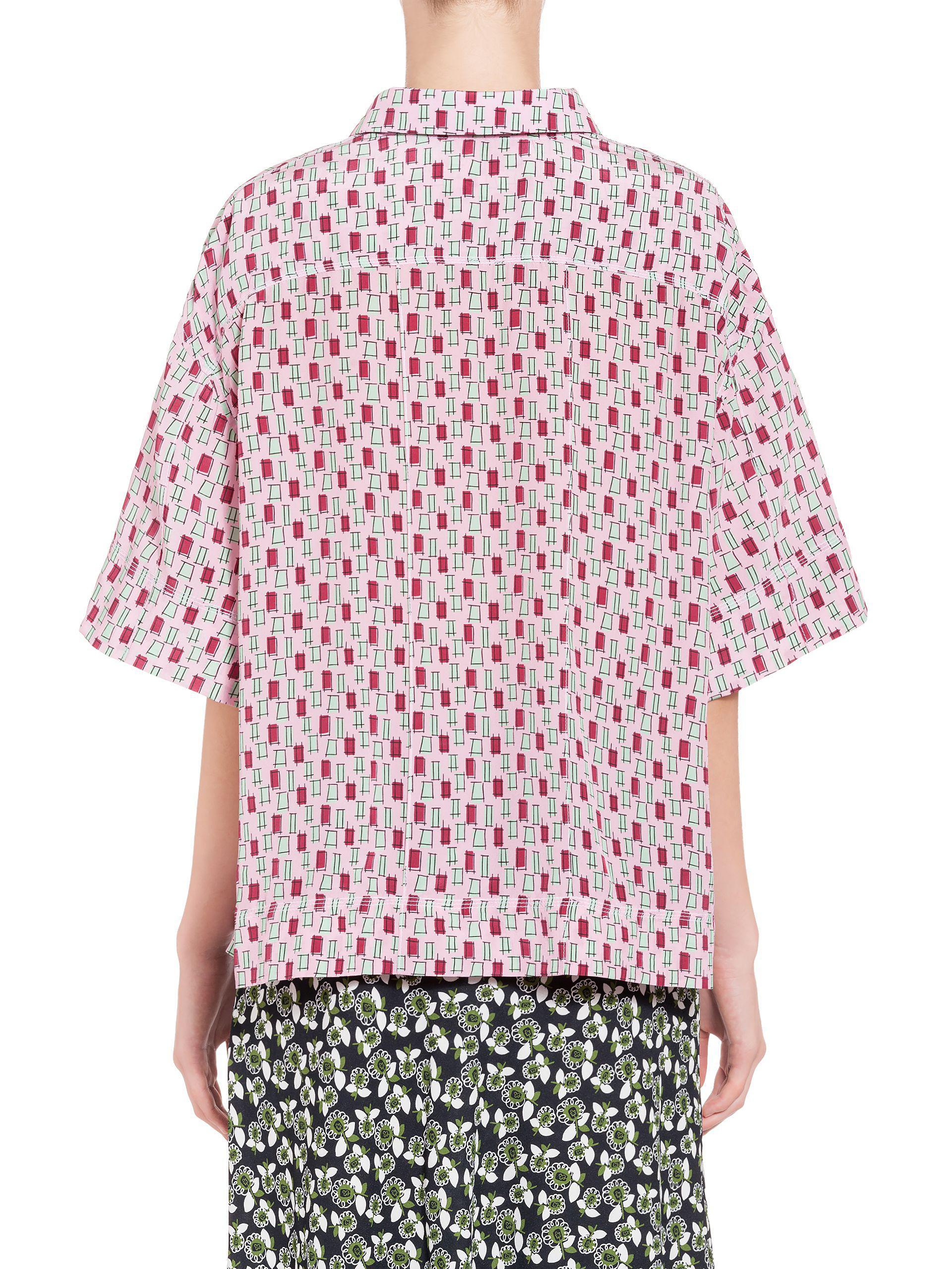16e7ea04c1f436 Lyst - Marni Polo Shirt In Silk Taos Print