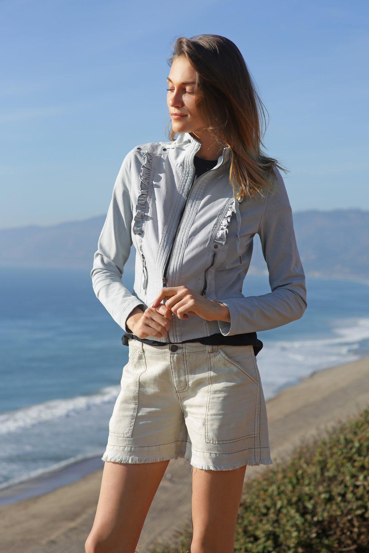 Marrakech Cotton Pearl Ruffled Track Jacket In Pearl Blue
