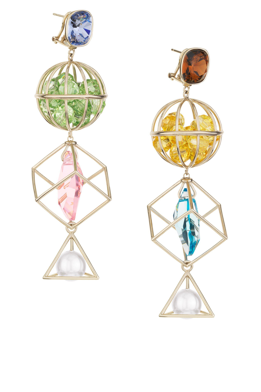 Mary Katrantzou Nostalgia Drop Pierced Earrings Light Multi UTuQP