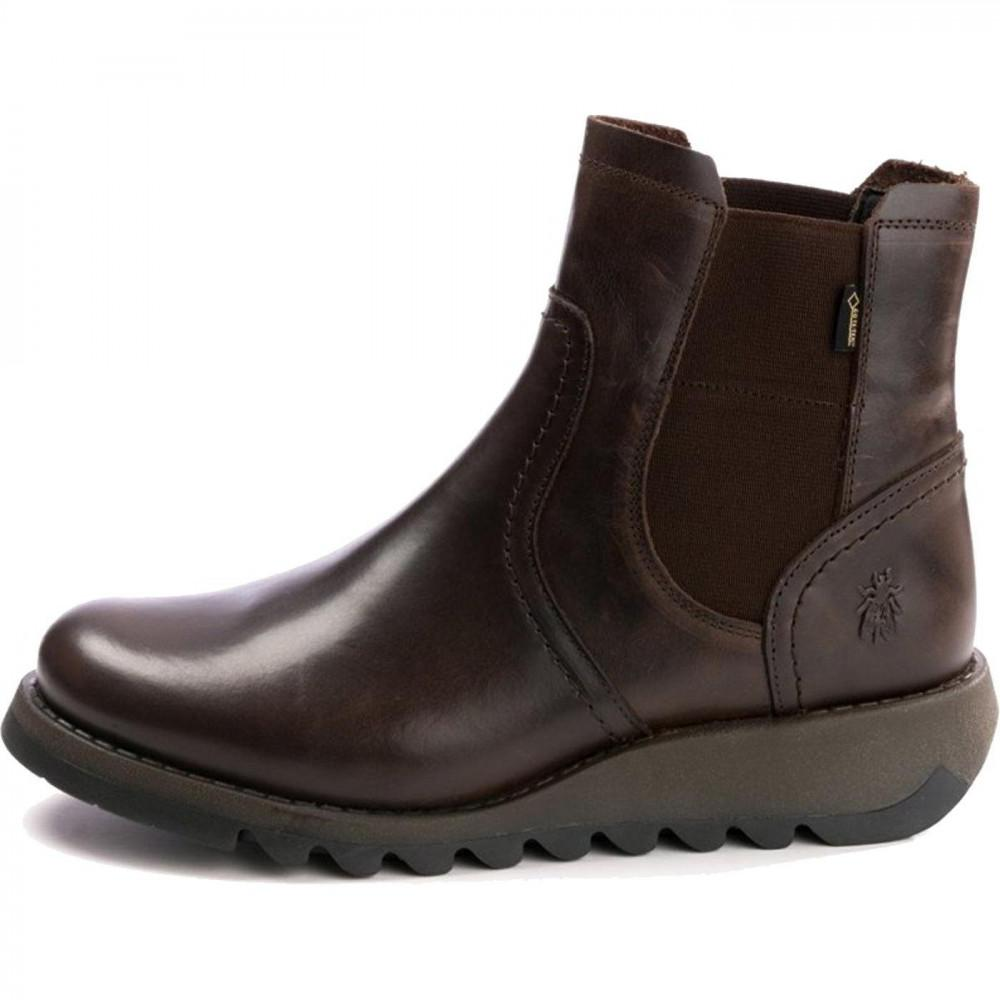 440fa68490d Fly London Scon Waterproof Wedge Chelsea Ankle Boots in Brown - Lyst