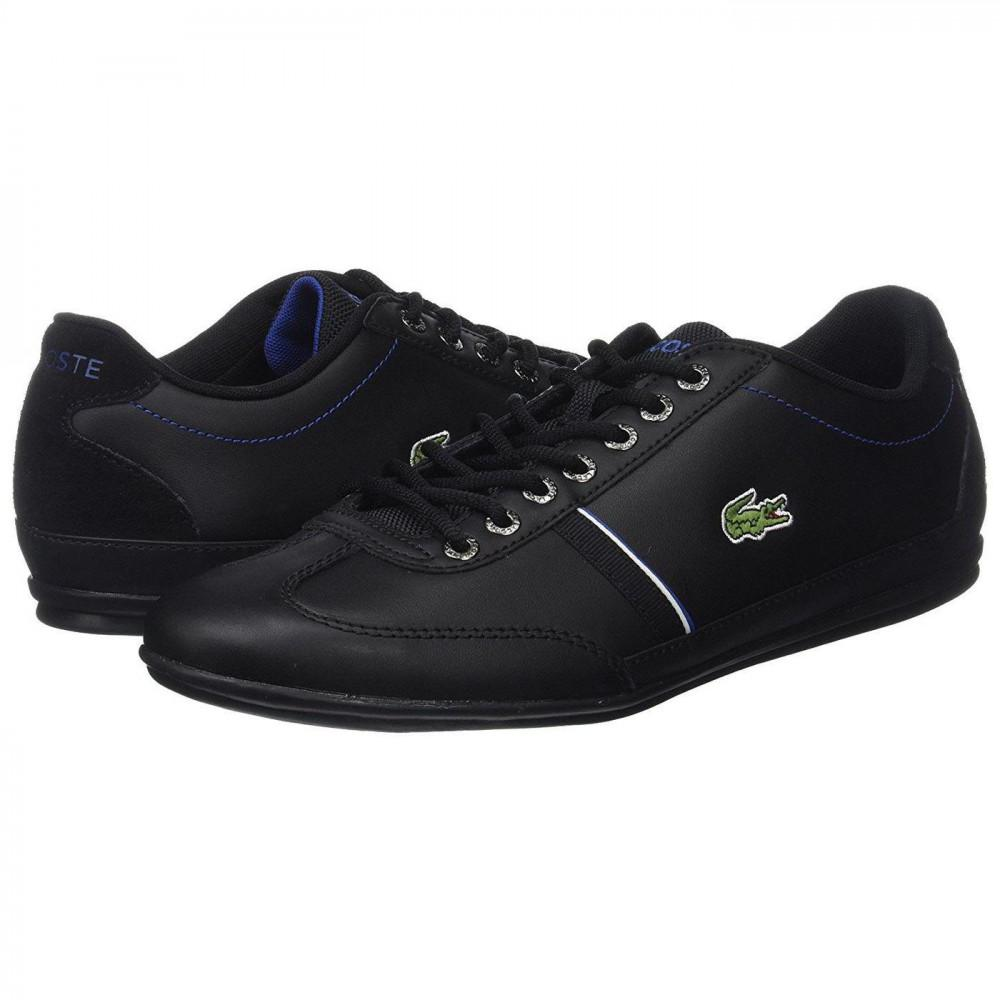 080989c110842d Lacoste Misano Sport 118 1 Leather Trainers Shoes in Black for Men ...