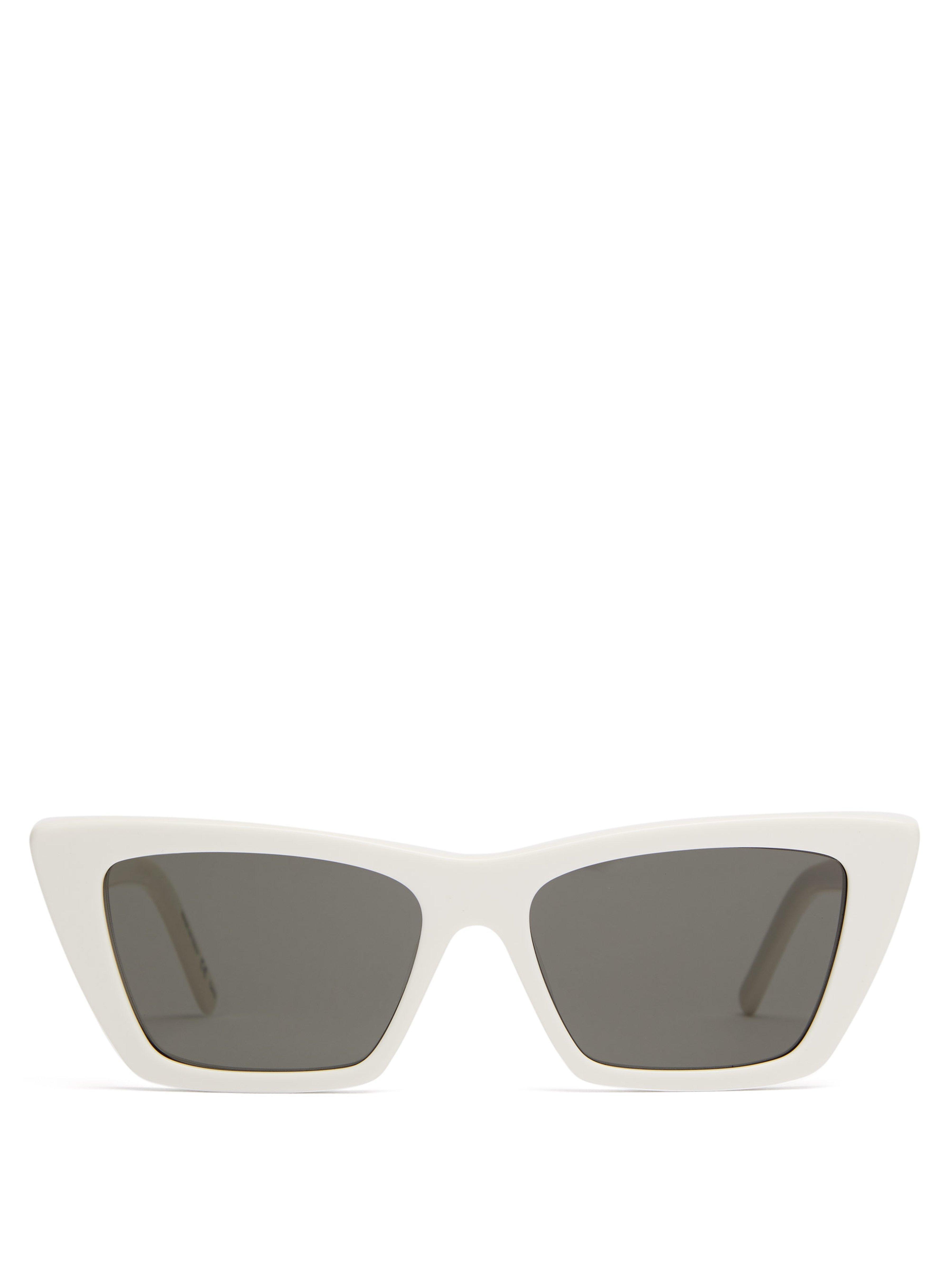 06c3c37379ca1 Saint Laurent Mica Cat Eye Acetate Sunglasses in White - Lyst