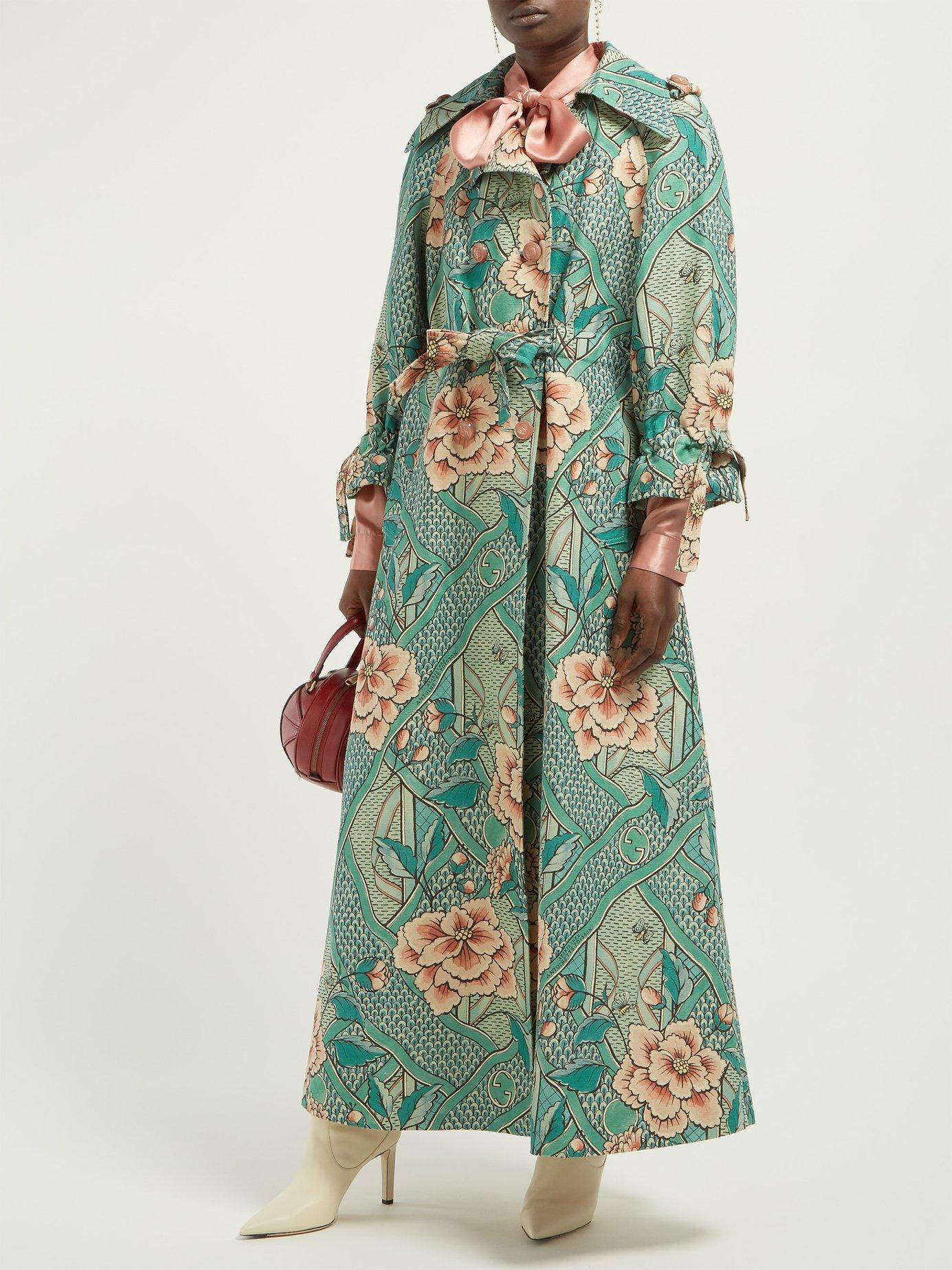 cbb458140 Lyst - Gucci Loraine Floral Print Linen And Cotton Blend Coat in Green