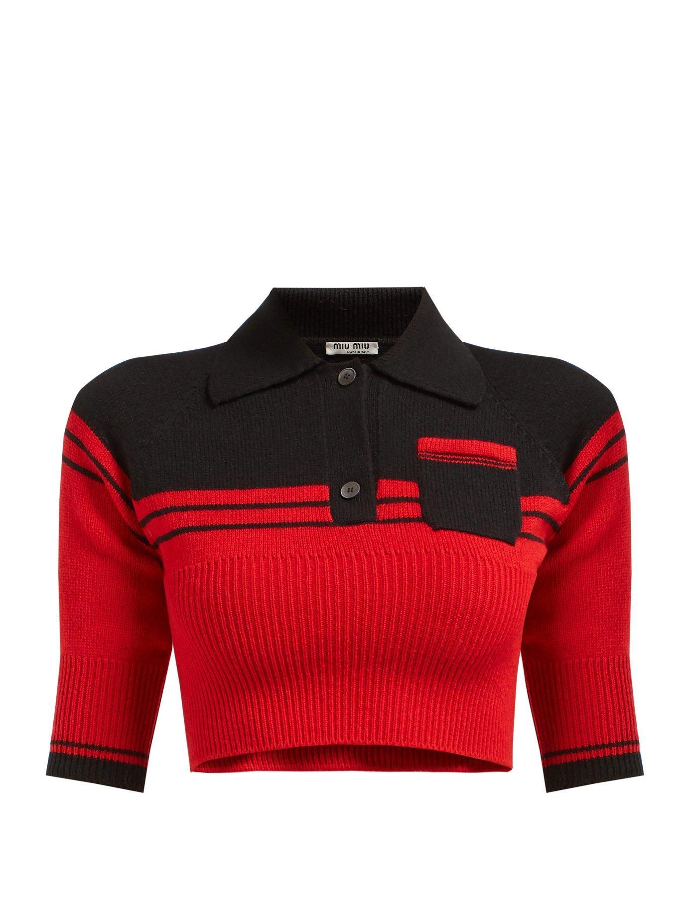 bdfc65ebbf57 Lyst - Miu Miu Block Colour Cropped Cashmere Sweater in Red