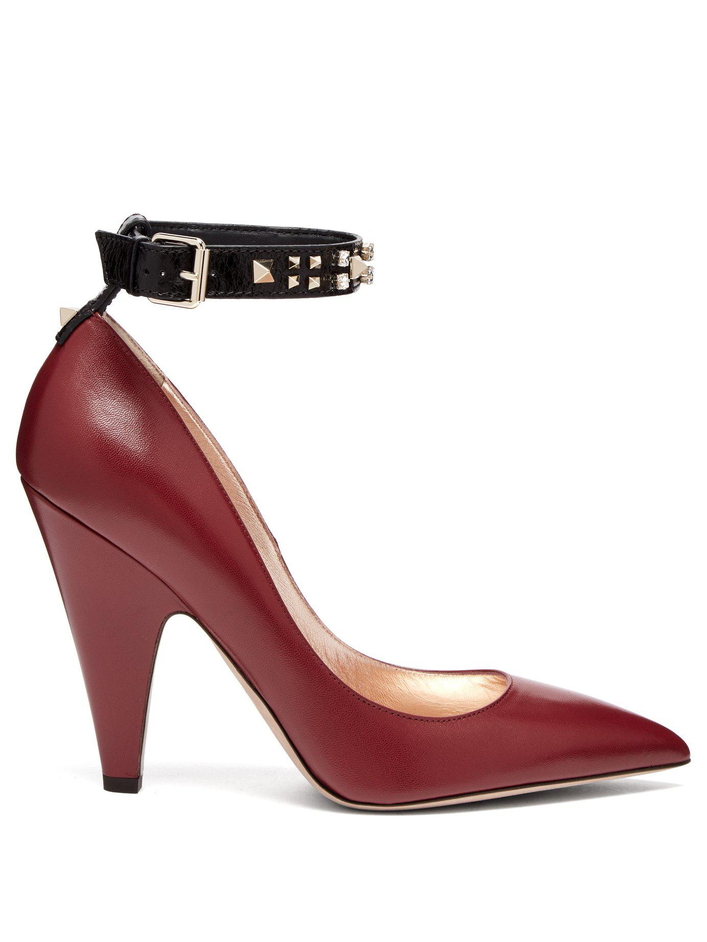 78e87a6cb38 Lyst - Valentino Rockstud Ankle Strap Leather Pumps in Pink