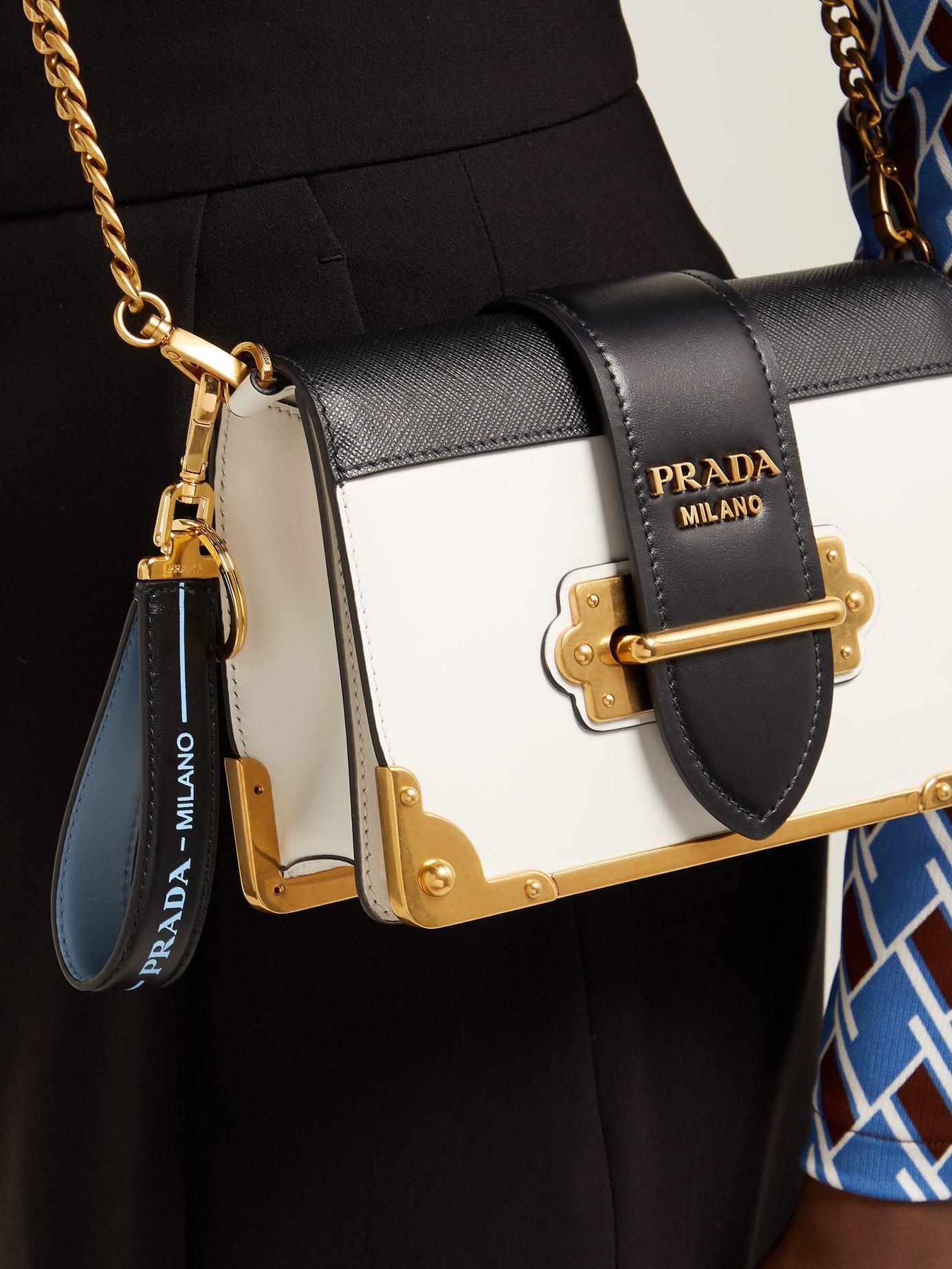 Lyst - Prada Logo Print Leather Key Ring in Black - Save 53% 970f4b6e445fb