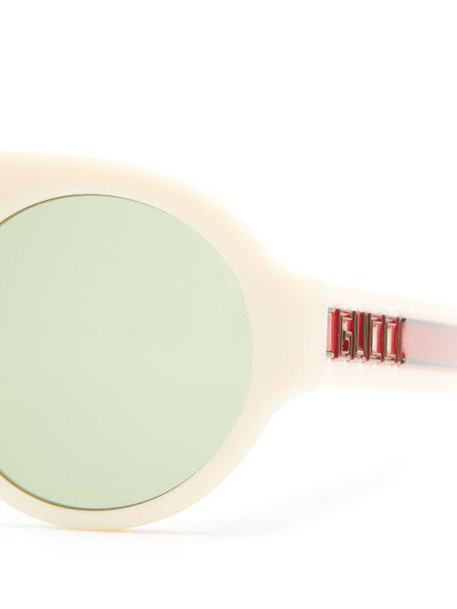 Round-frame Web-striped acetate sunglasses Gucci eZdnxZ8