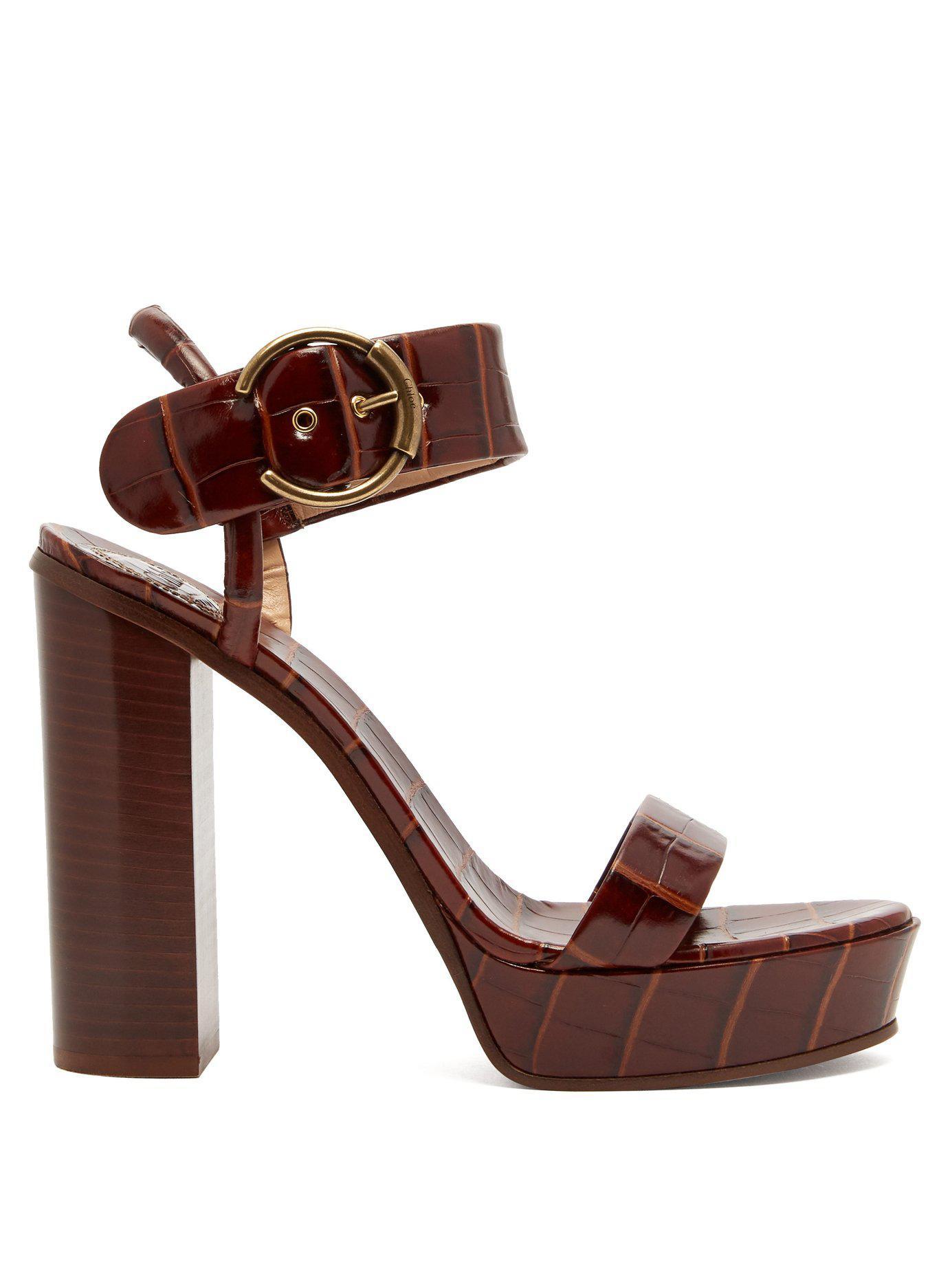 45a6f7a15 Lyst - Chloé Crocodile Effect Leather Platform Sandals in Brown