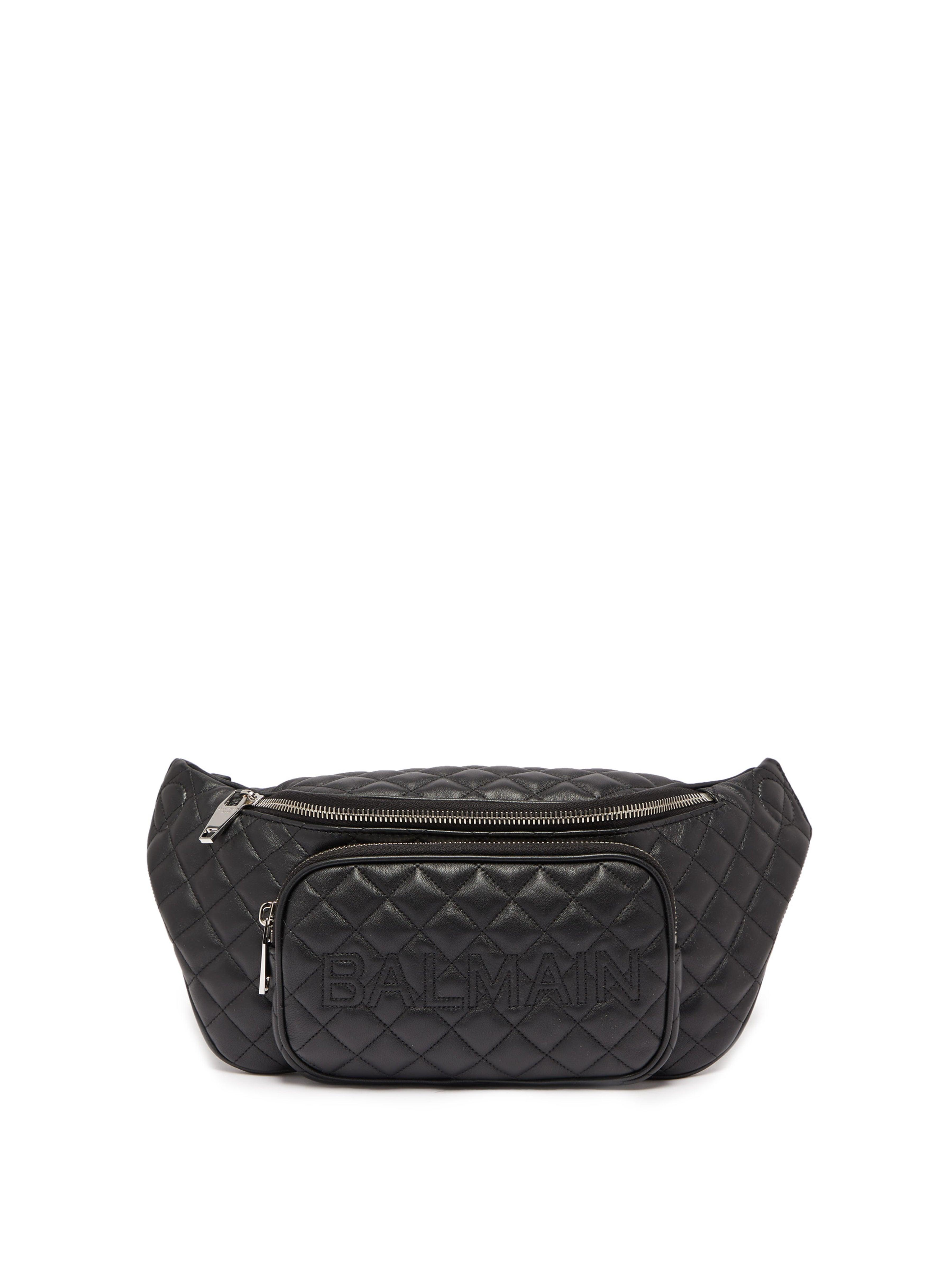 8f07b26e3 Balmain Quilted Leather Belt Bag in Black for Men - Lyst