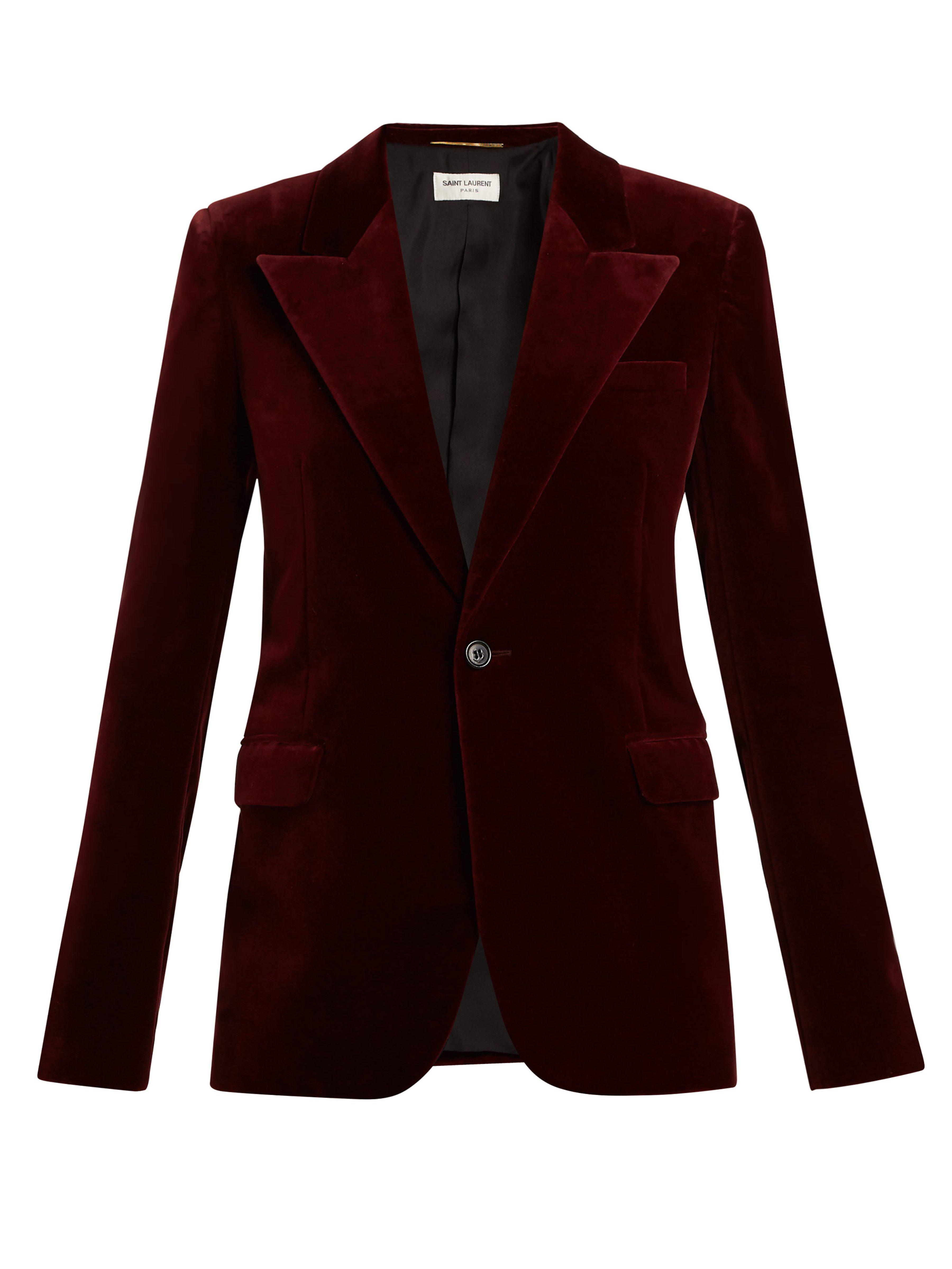 fa7b6a96 Saint Laurent Cotton-velvet Blazer in Purple - Lyst