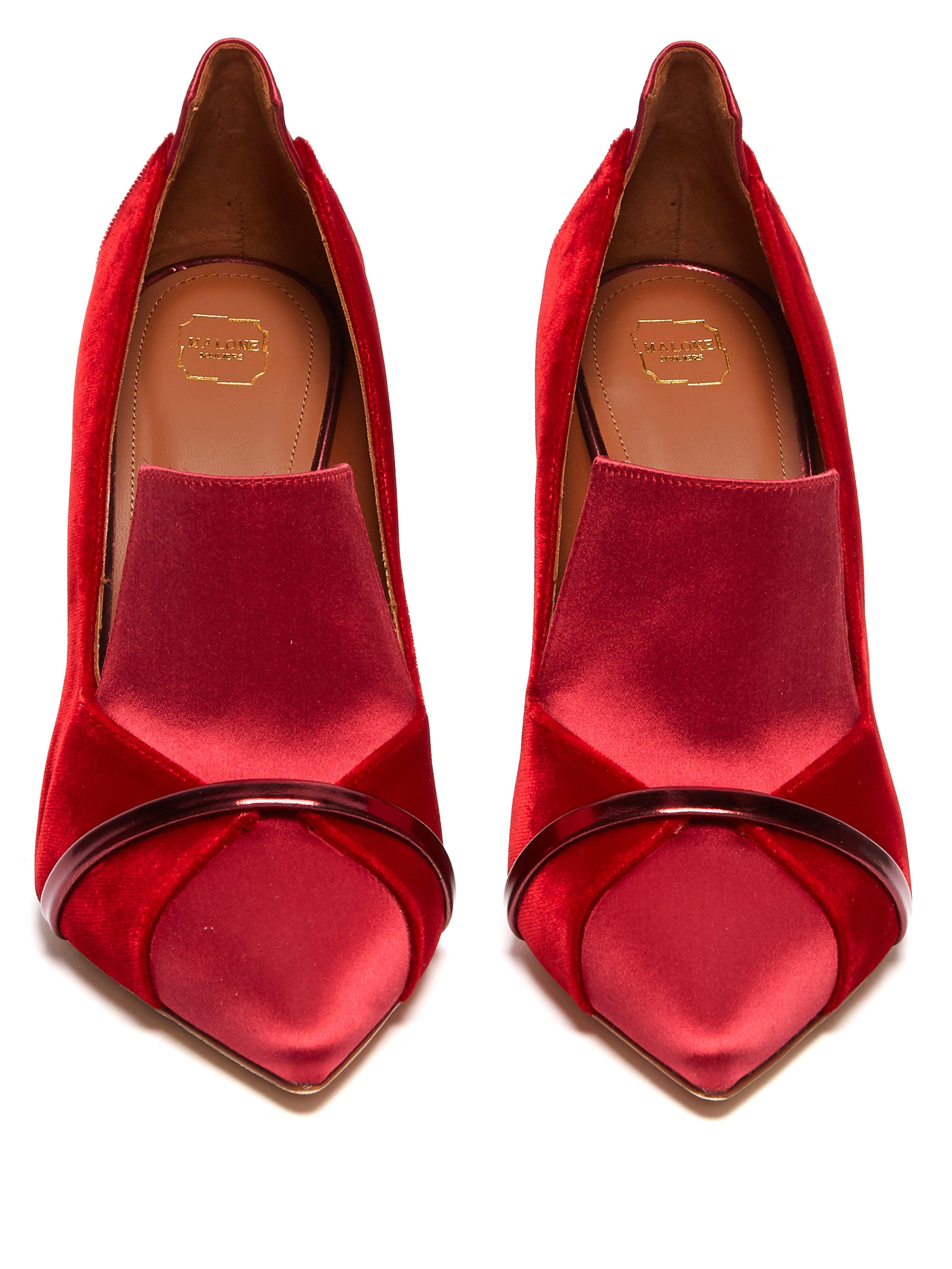 5690c02f04f Malone Souliers Storm Velvet And Satin Pumps in Red - Lyst