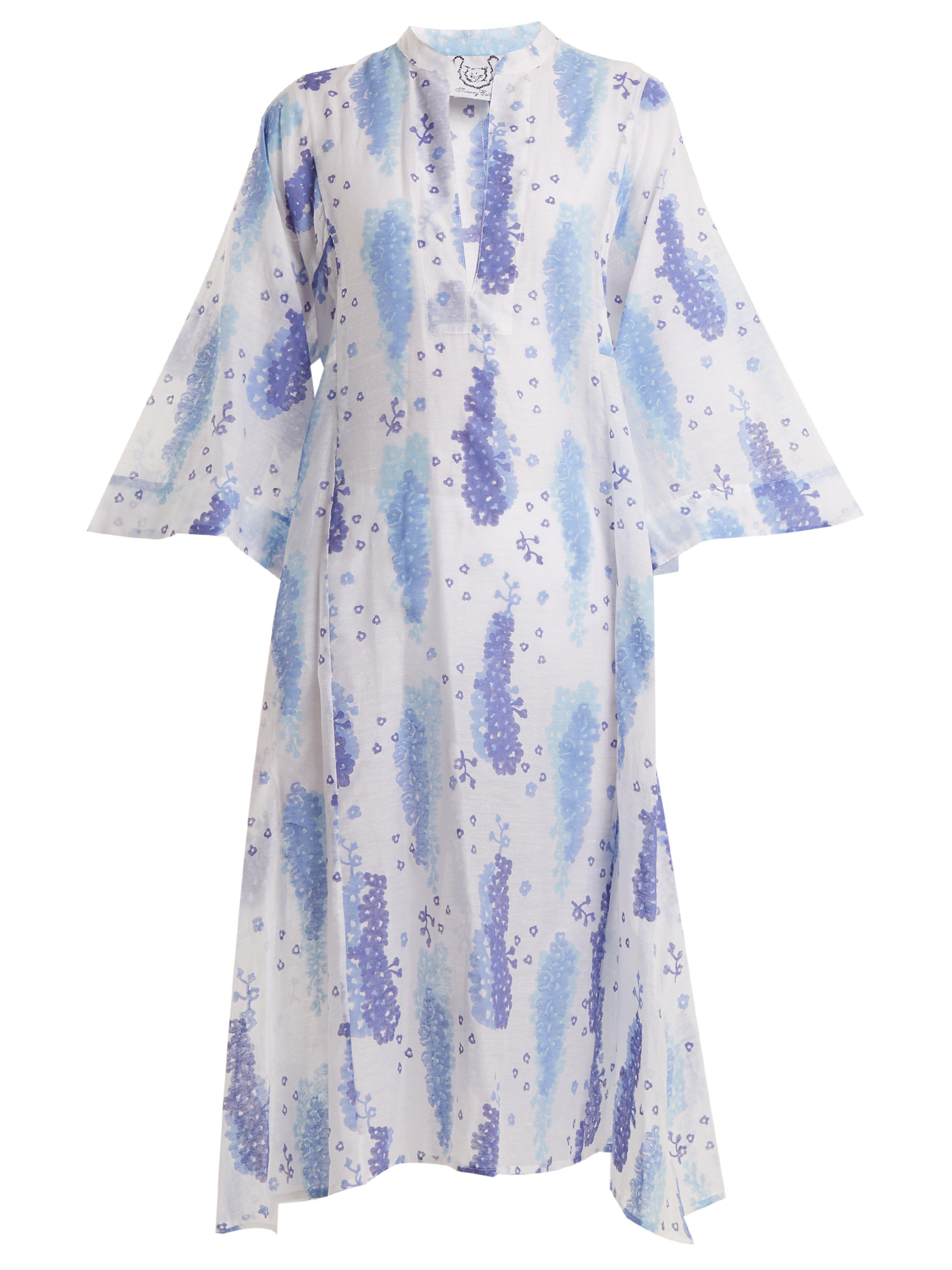 b818dfded5 Thierry Colson Rachel Floral Print Silk Blend Kaftan in Blue - Lyst