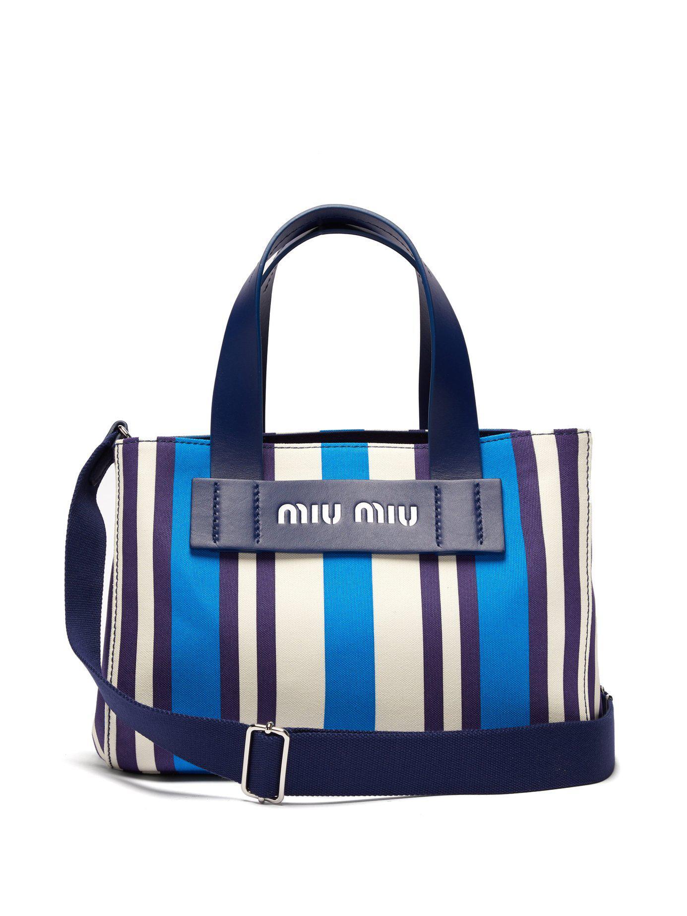 Lyst - Miu Miu Striped Canvas Beach Bag in Blue fed4170287ec5
