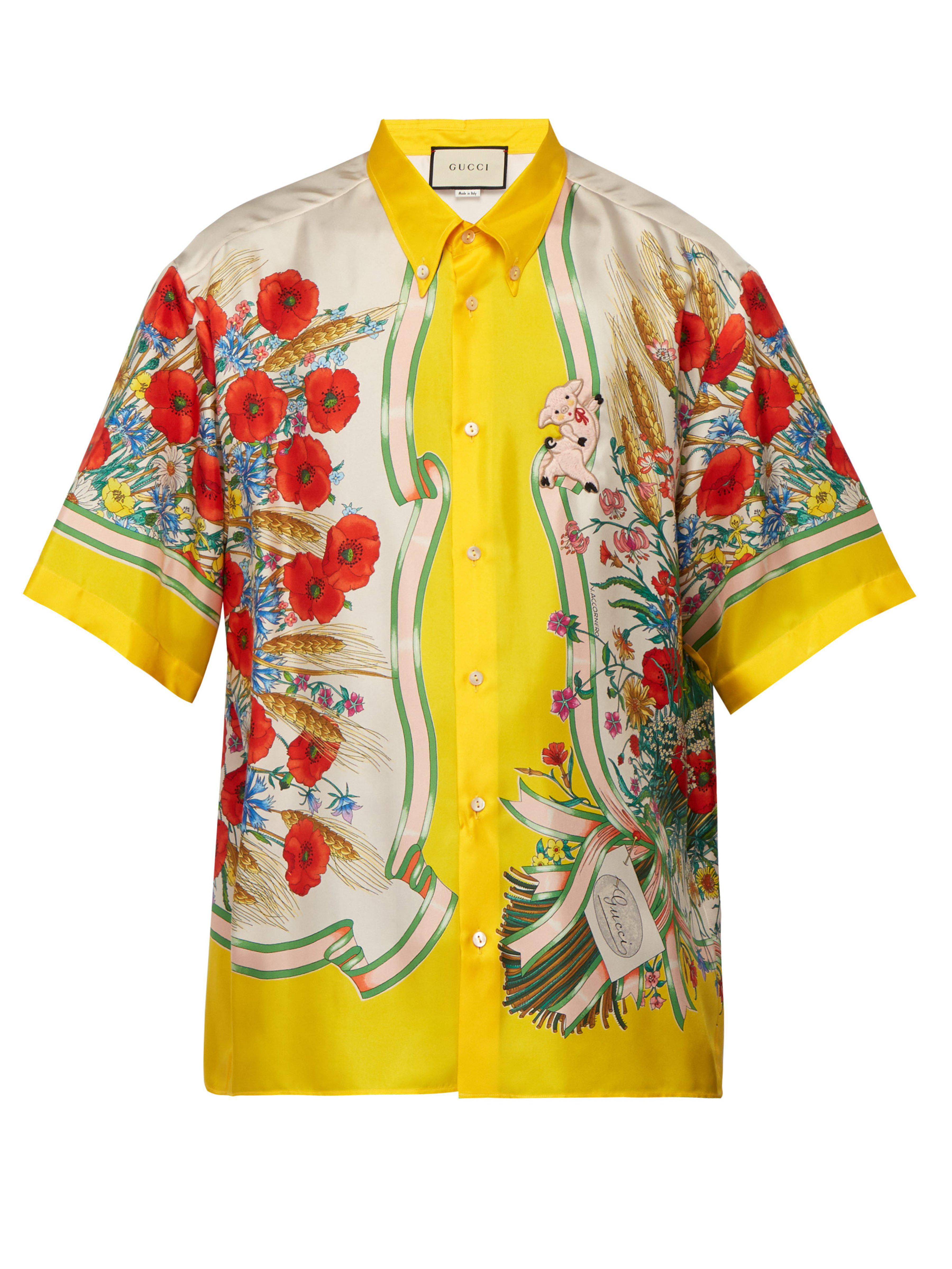 066c0529397 Gucci Poppy-print Silk Button-down Shirt in Yellow for Men - Save 24 ...