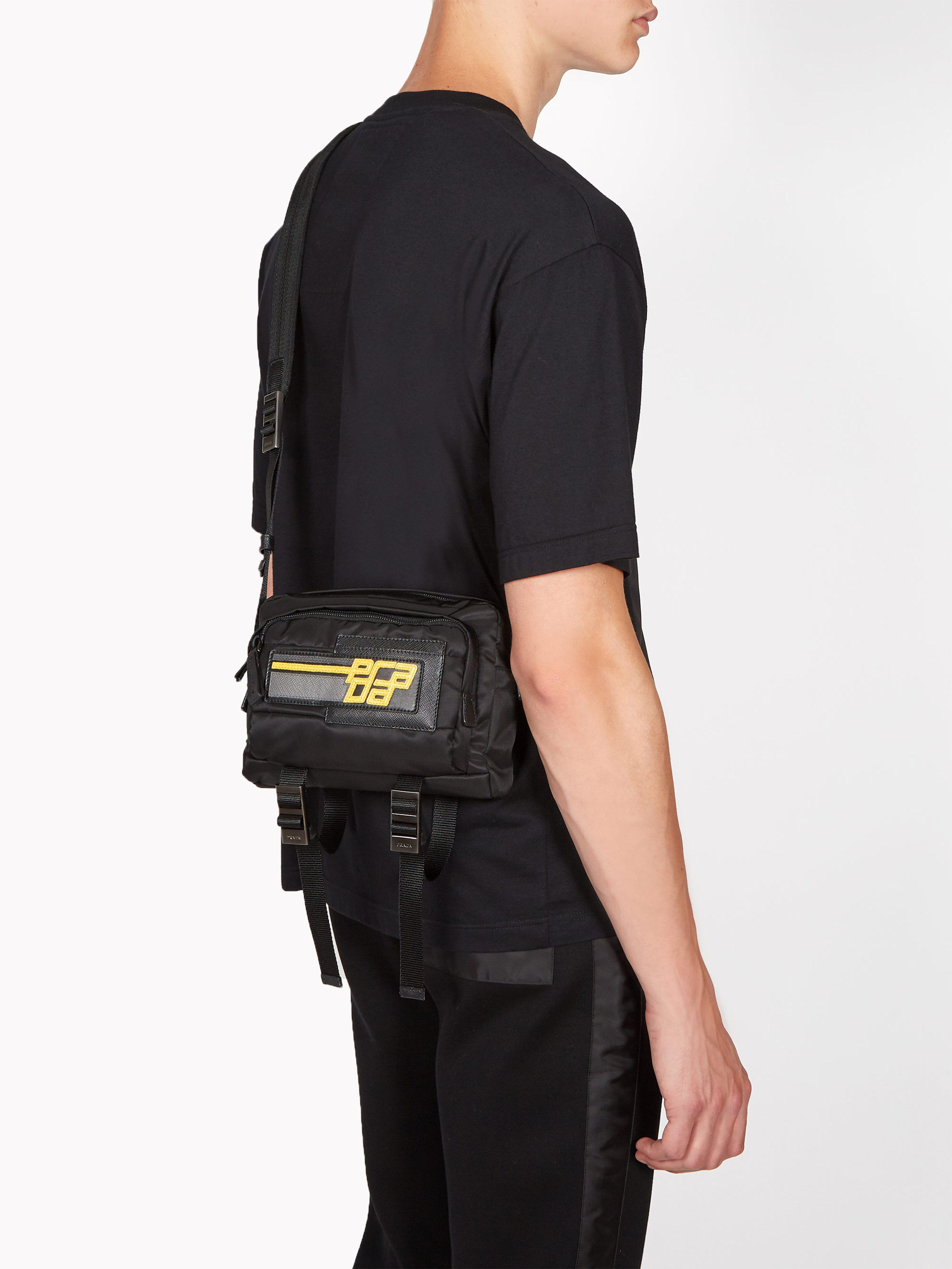 4573a0b39910 Prada Logo Patch Nylon Cross Body Bag in Black for Men - Lyst