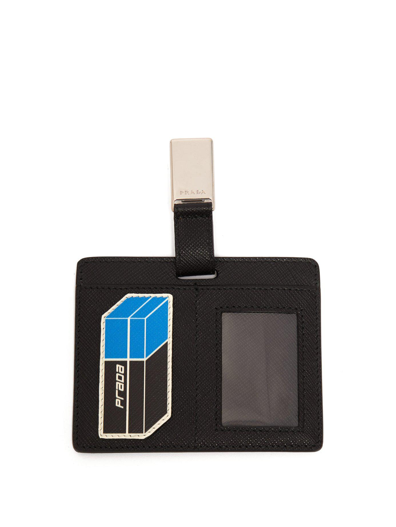 116a29c369a0 Prada Saffiano Leather Clip On Cardholder Badge in Black for Men - Lyst