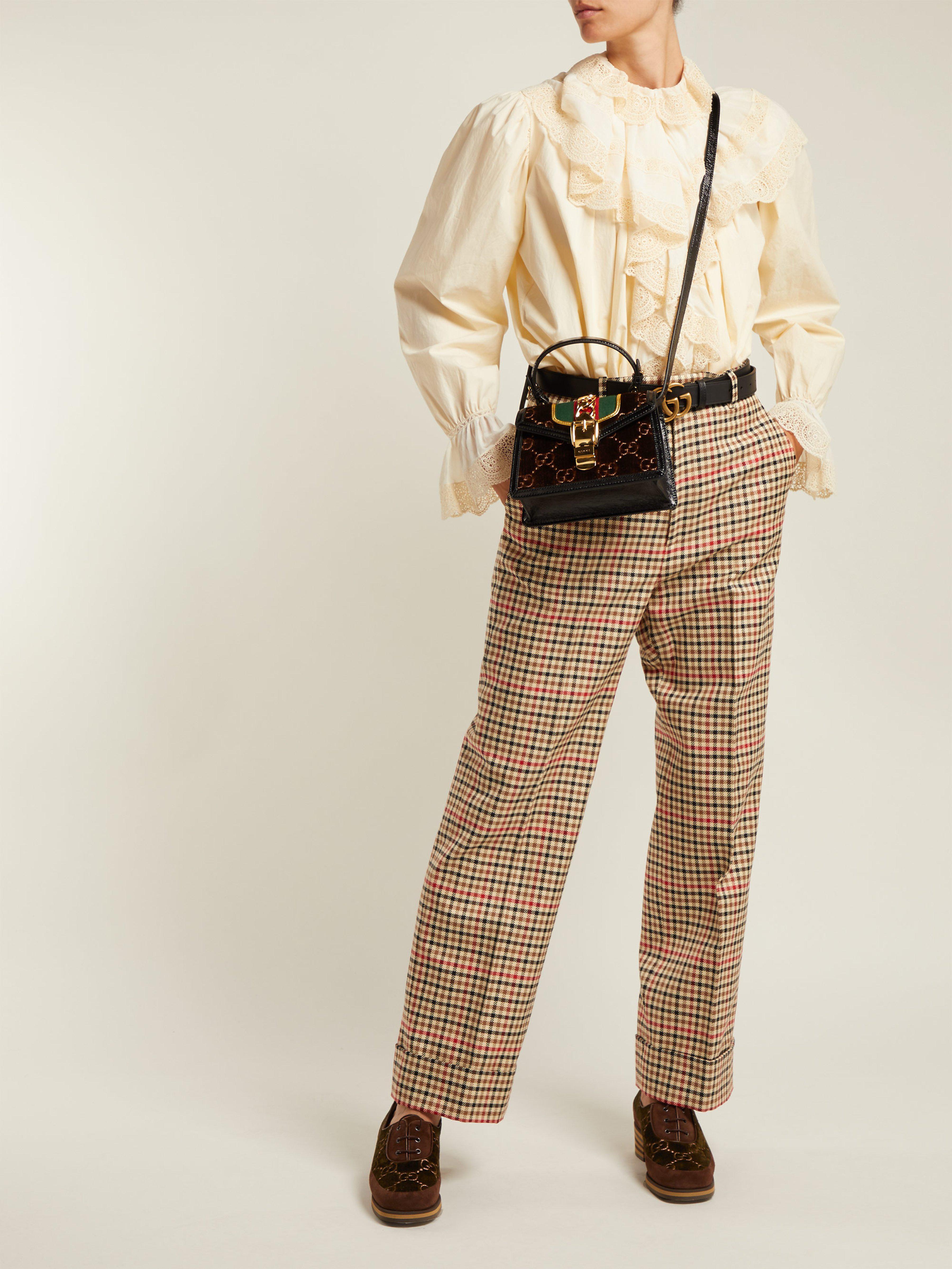 1da41333e7f Gucci Sylvie Mini Velvet Cross Body Bag in Brown - Lyst