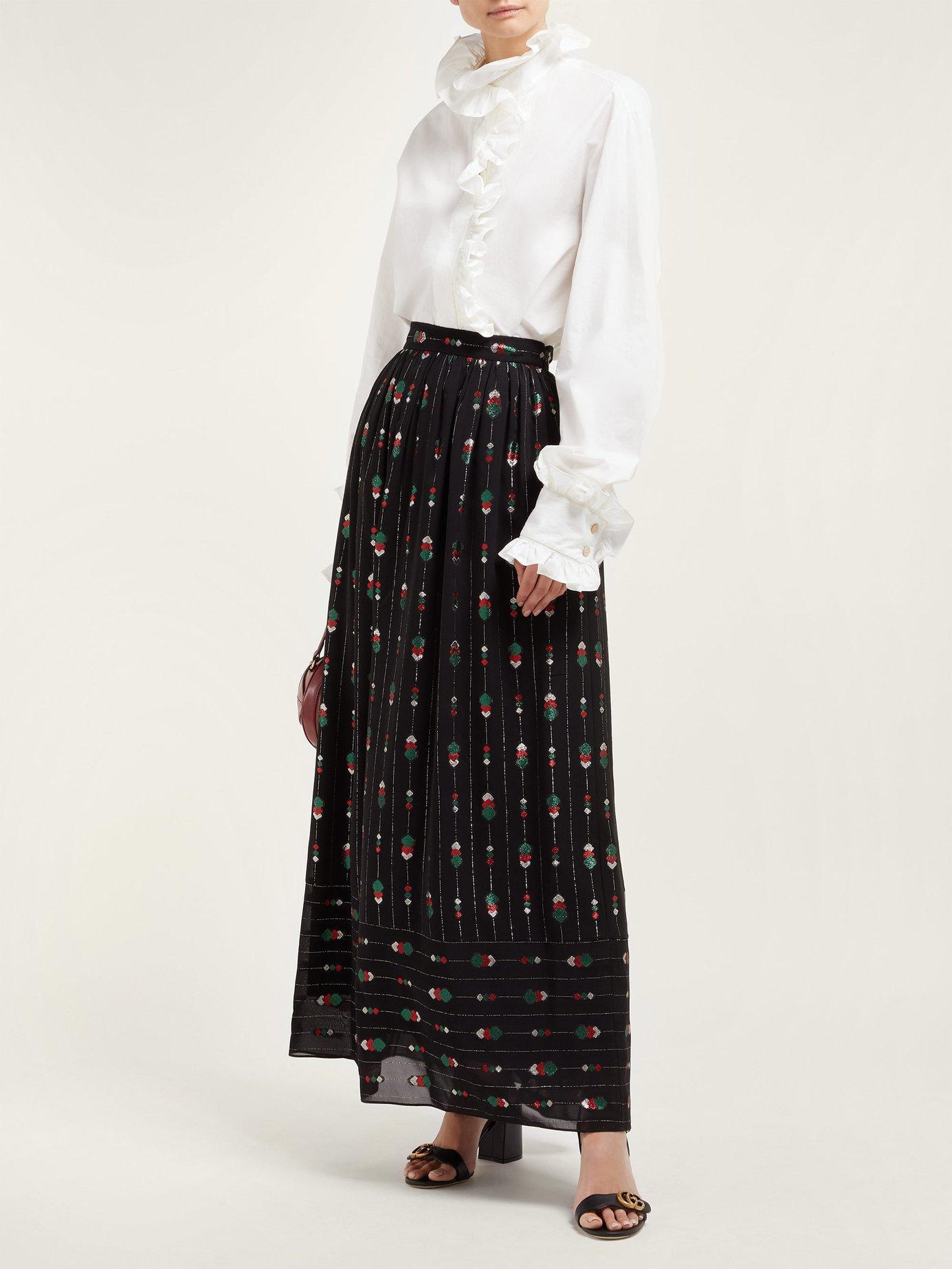 215fb6f24c8 Lyst - Gucci Geometric Fil Coupé Crepe Skirt in Black