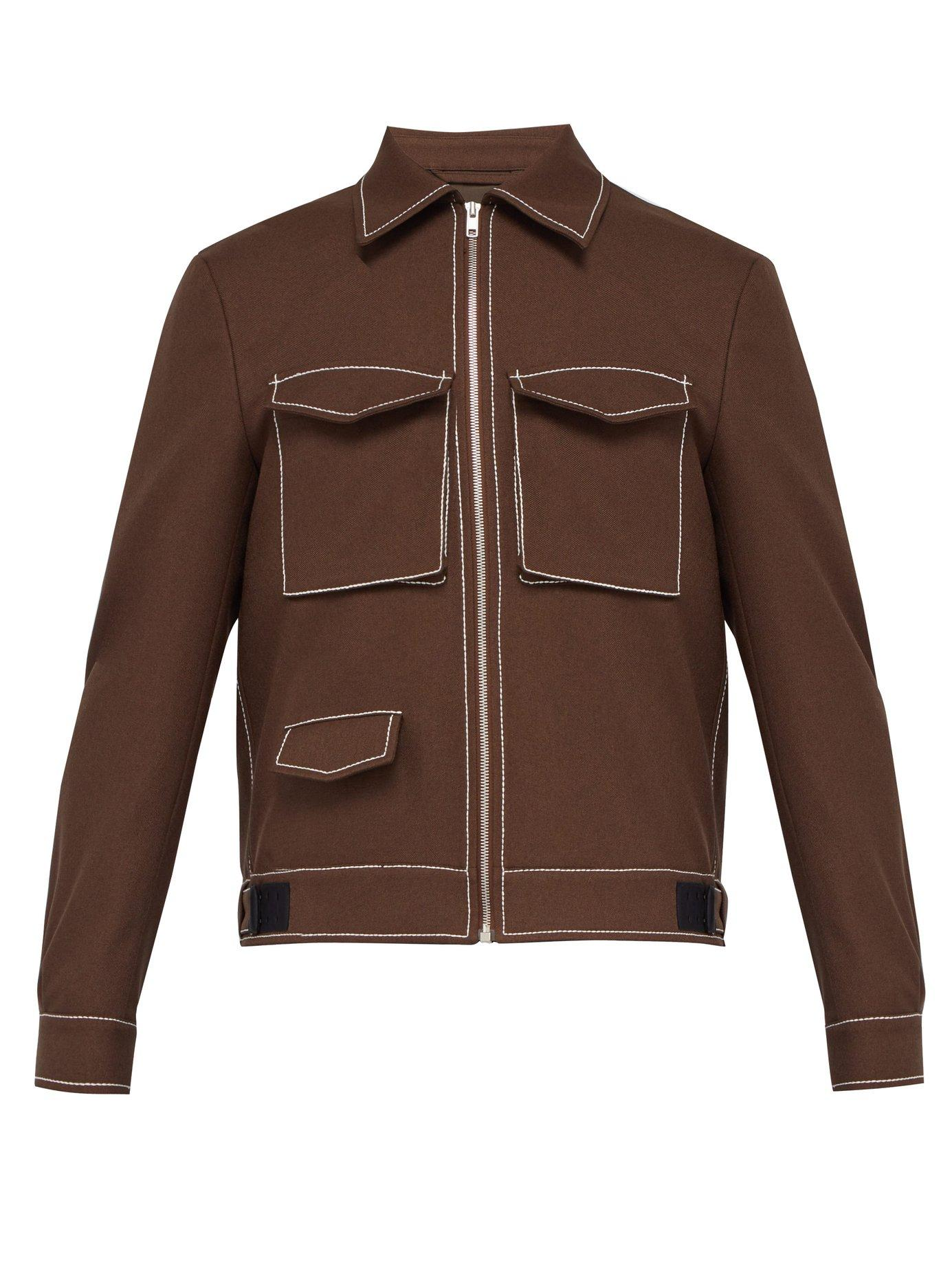 54403349a6 Lyst - Maison Margiela Topstitched Twill Jacket in Brown for Men