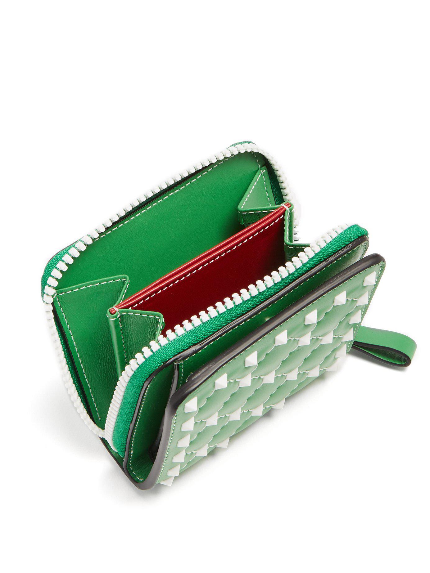 Lyst - Valentino Rockstud Spike Zip Around Leather Wallet in Green - Save  34% d7249eee7102f