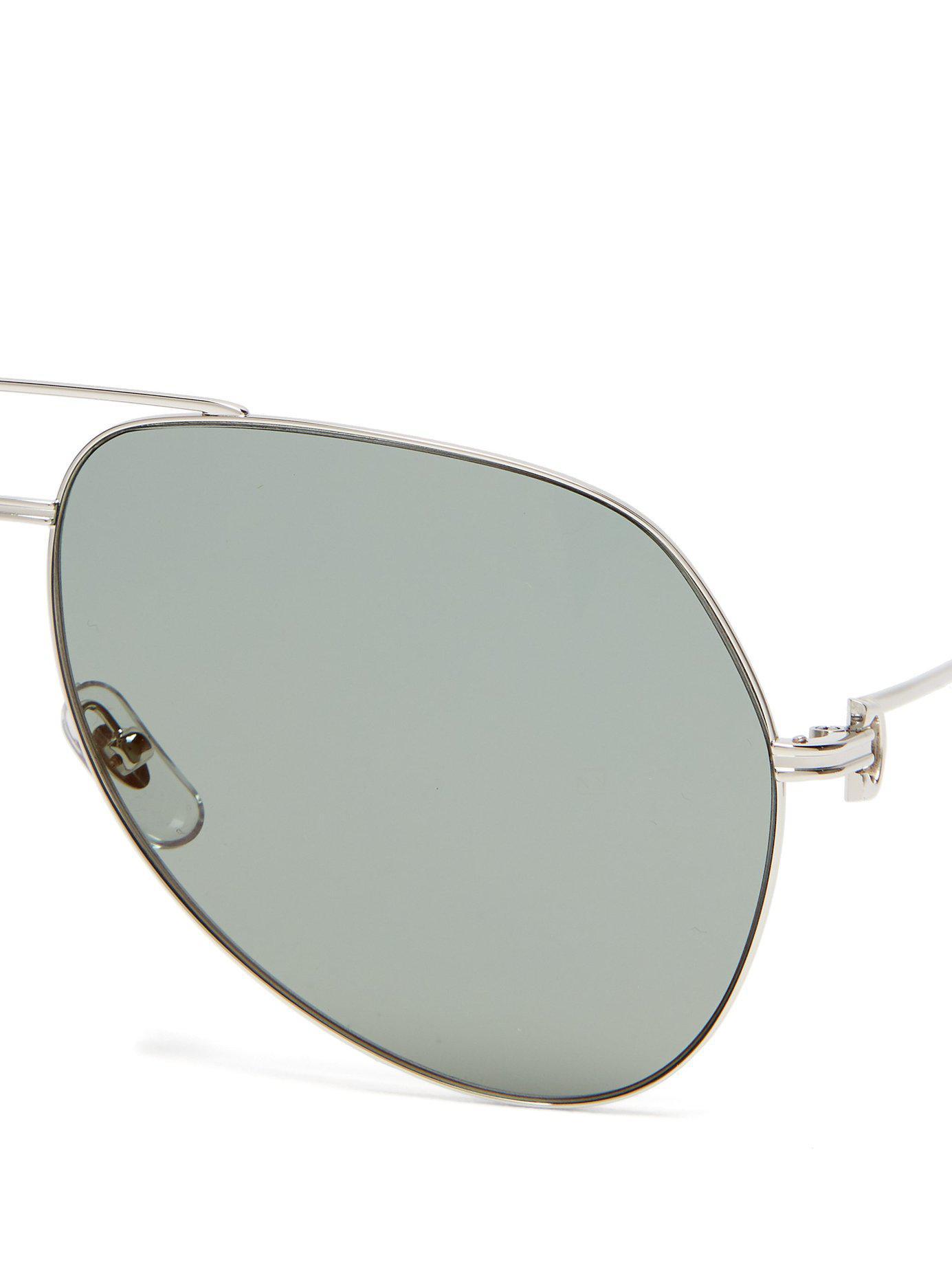 6598e9856bbaa Cartier - Metallic Aviator Metal Sunglasses for Men - Lyst. View fullscreen