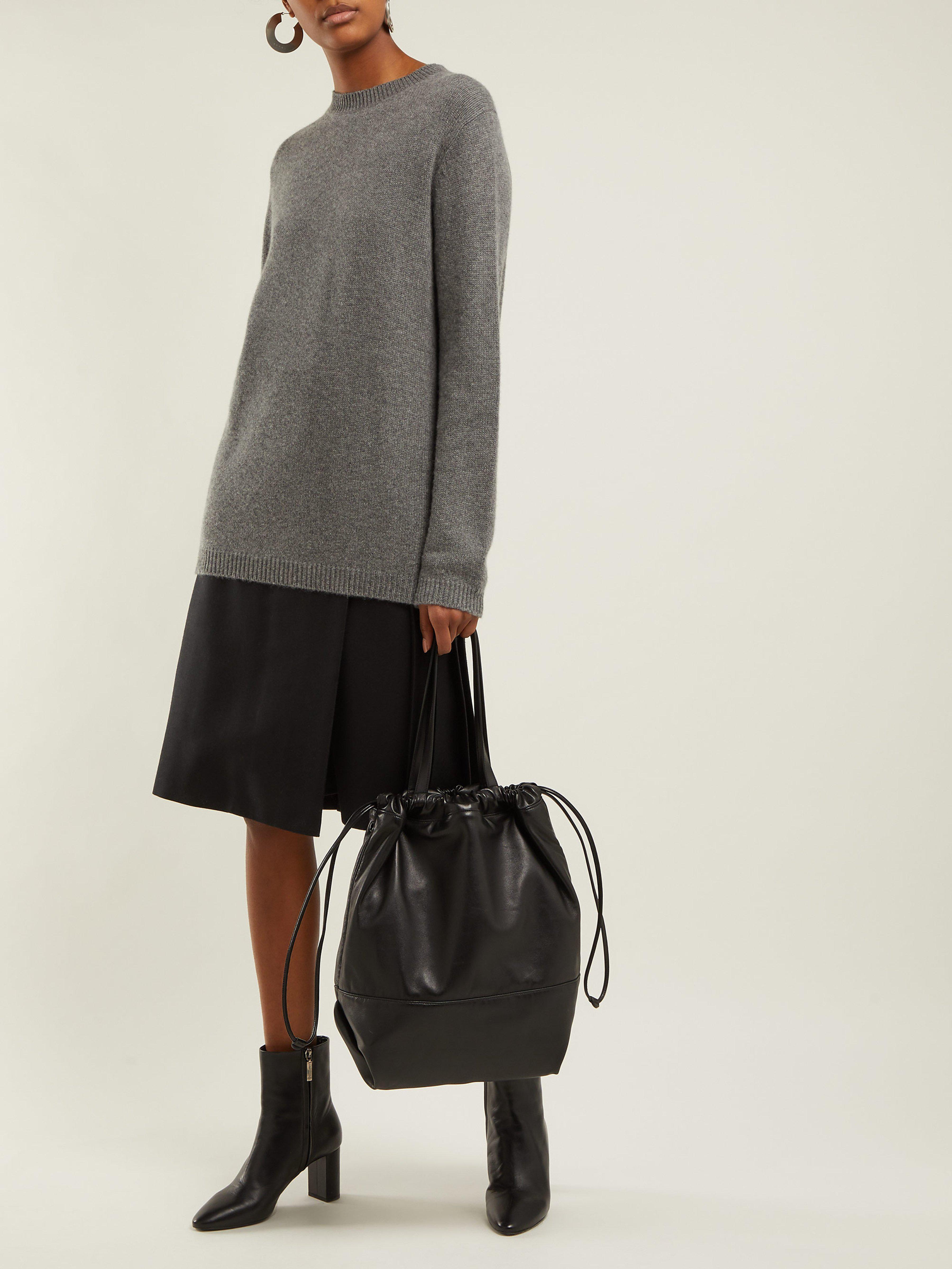 e37d7f9f2 Saint Laurent Harlem Drawstring Leather Tote Bag in Black - Lyst