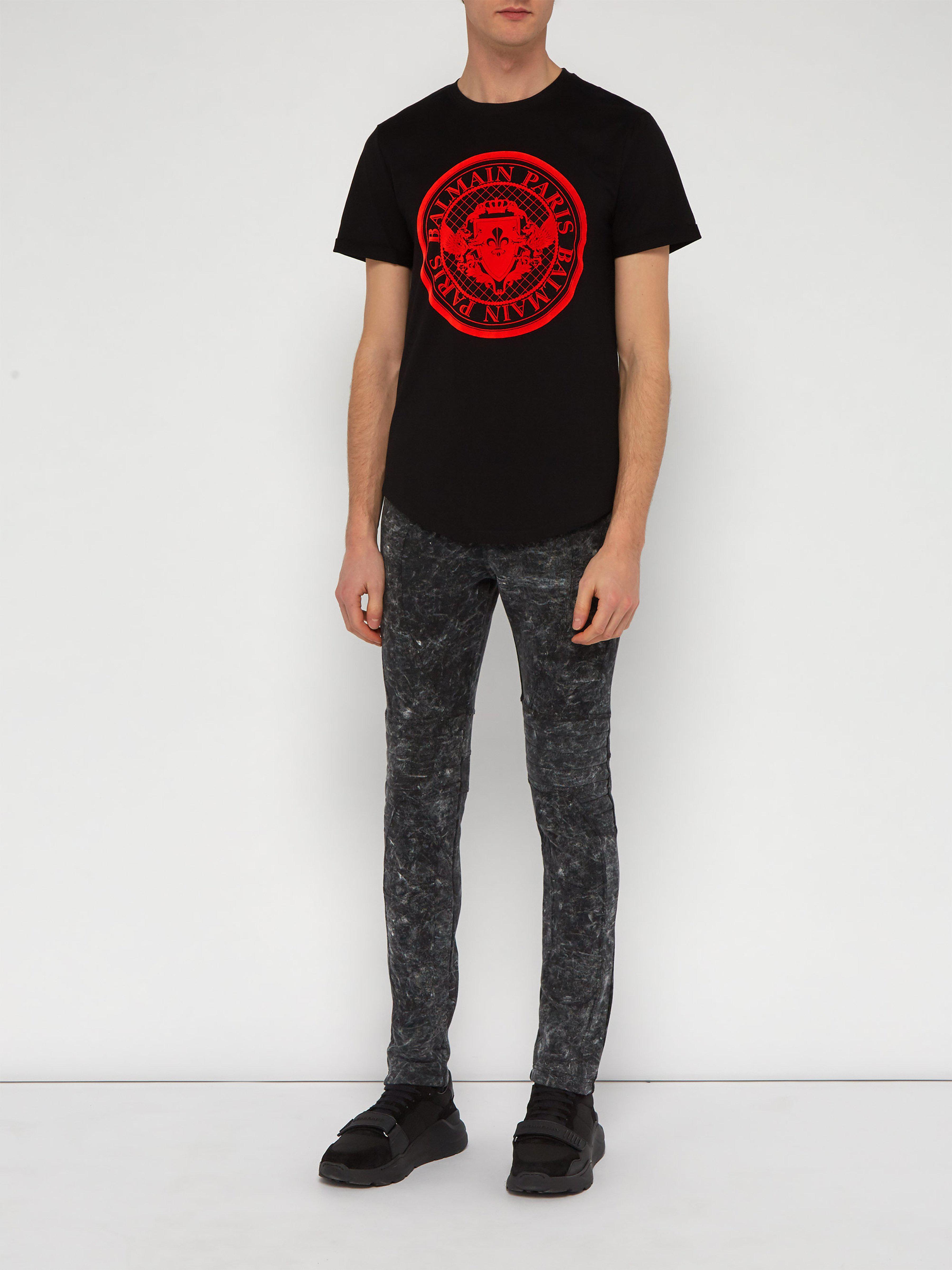 d21c9b07 Balmain Flocked Logo Cotton T Shirt in Black for Men - Save 7% - Lyst