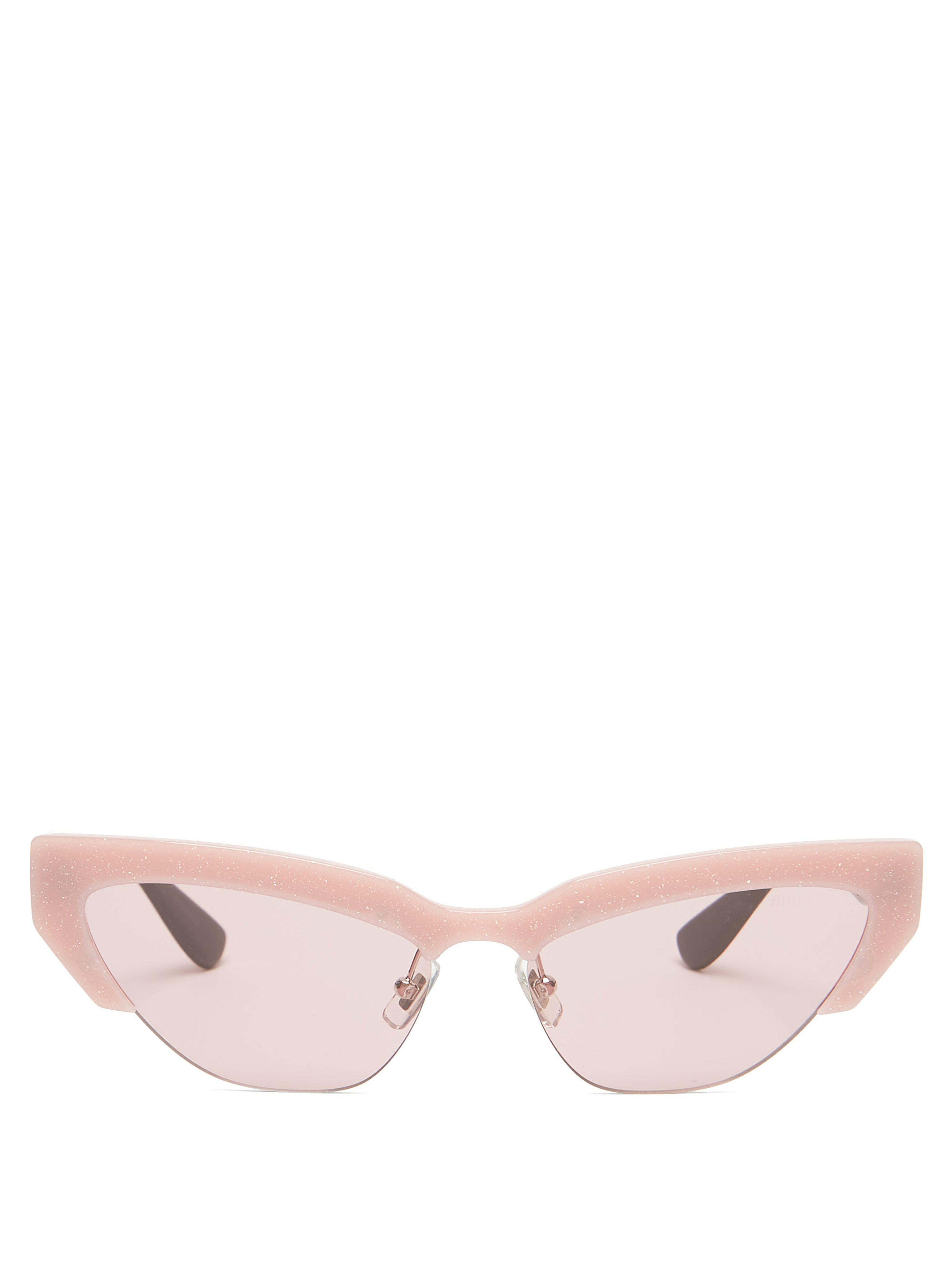 c3fc683d08 Miu Miu Glitter Acetate Trim Cat Eye Sunglasses in Pink - Save ...