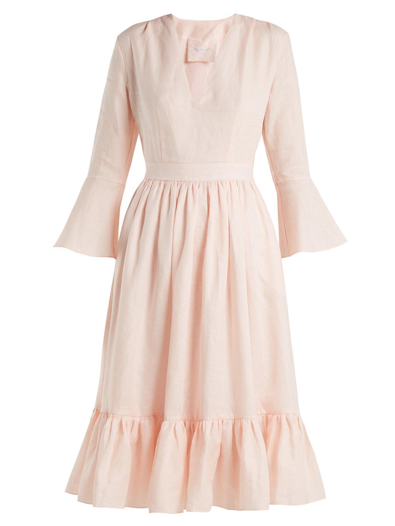 0847fec3f5 Lyst - Loup Charmant Sea Island Tie Waist Linen Dress in Pink