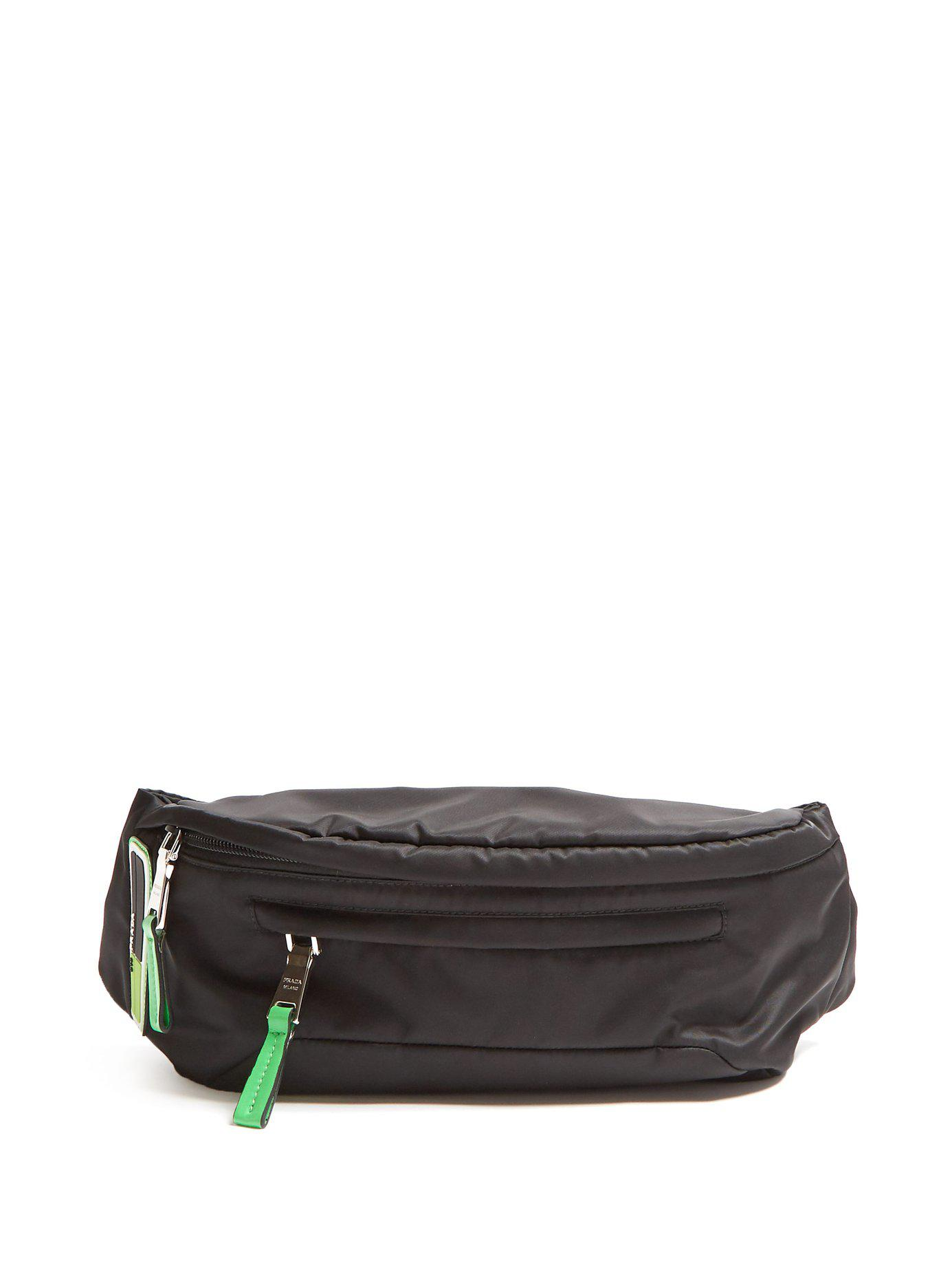 c5d72df04b43 Prada Logo Nylon Belt Bag in Black for Men - Lyst