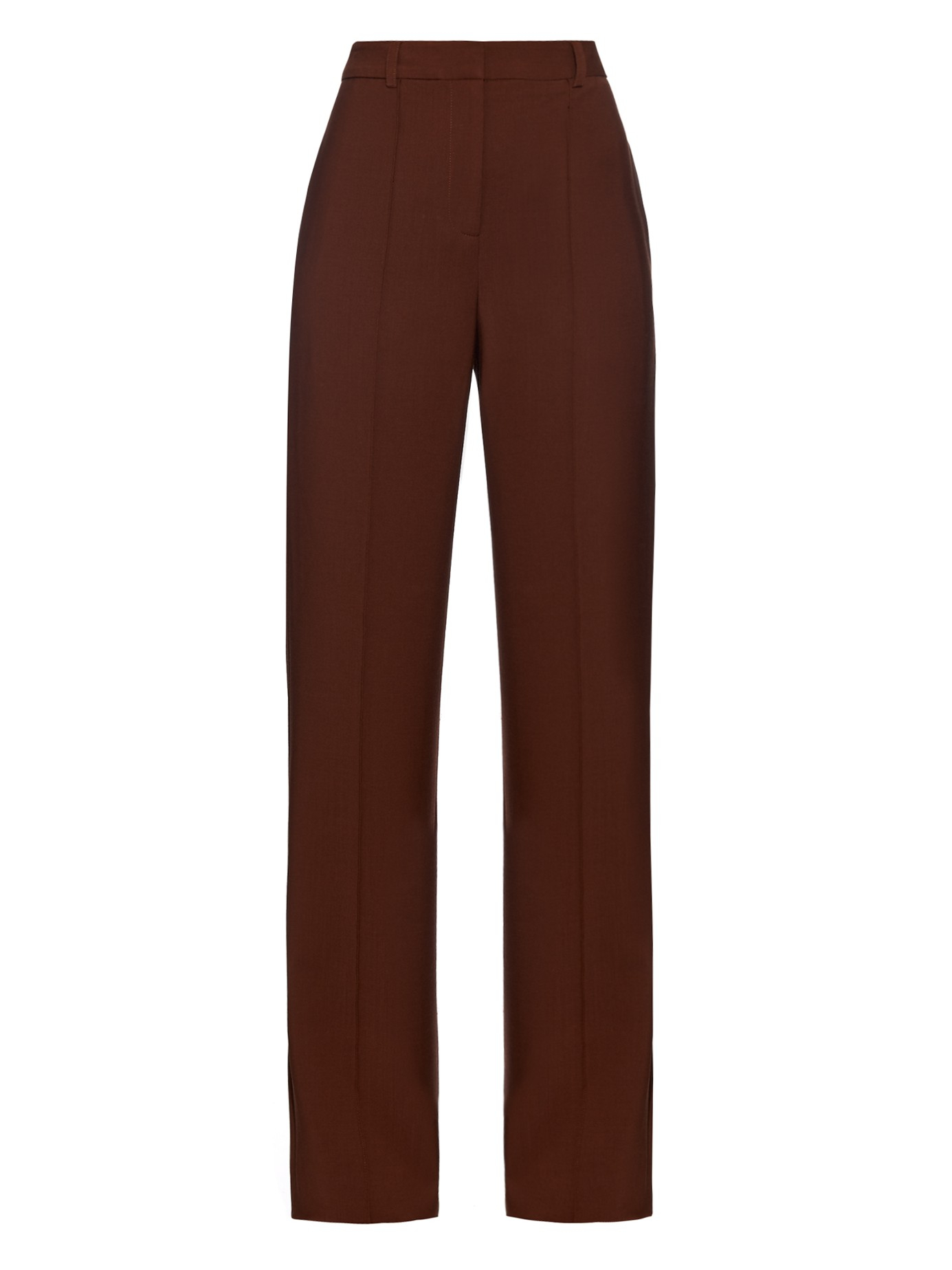 Lyst Adam Lippes High Waisted Stretch Wool Crepe Trousers In Brown