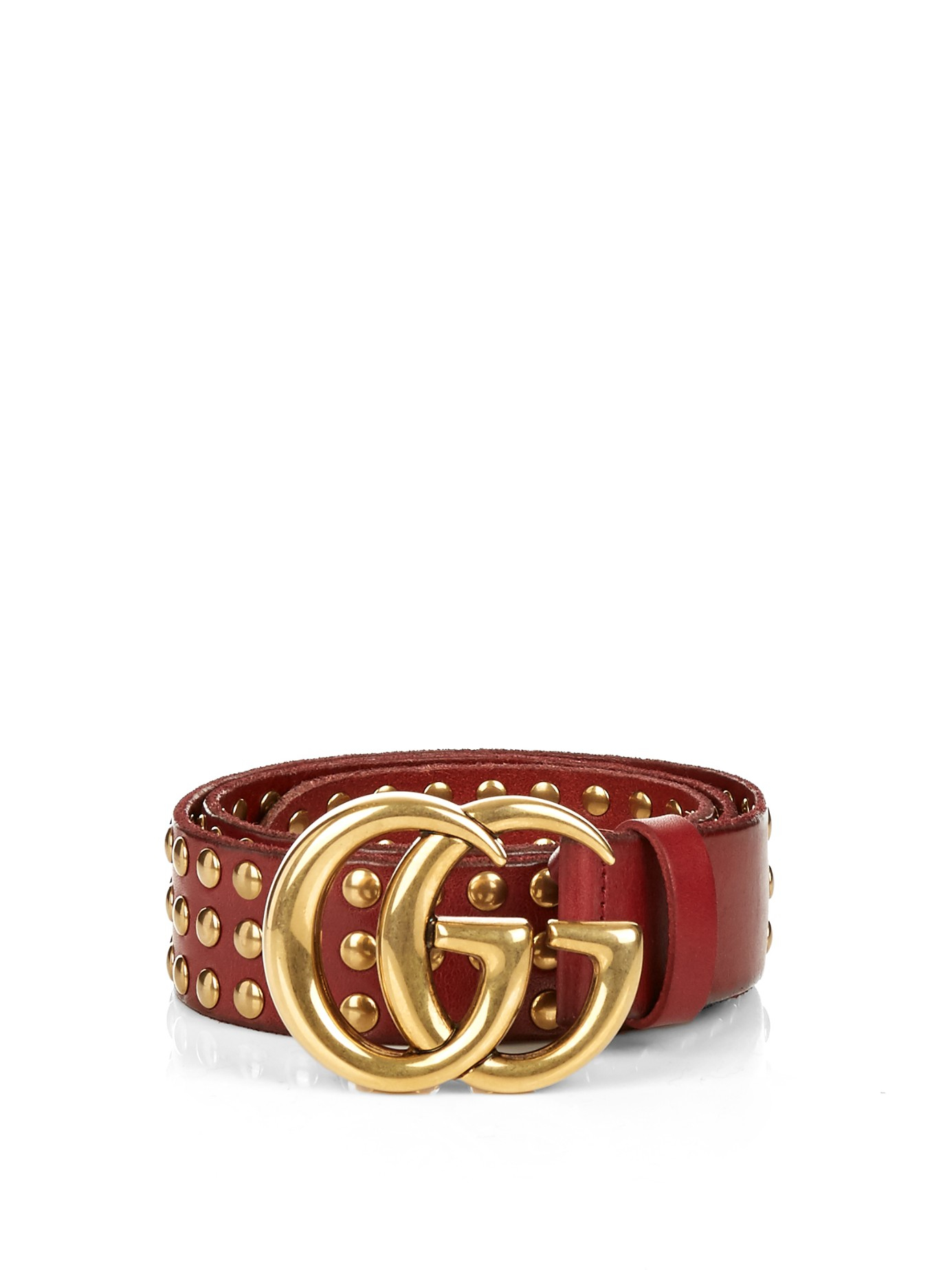 0512d2ca0 Gucci Gg-logo 4cm Studded-leather Belt in Brown - Lyst