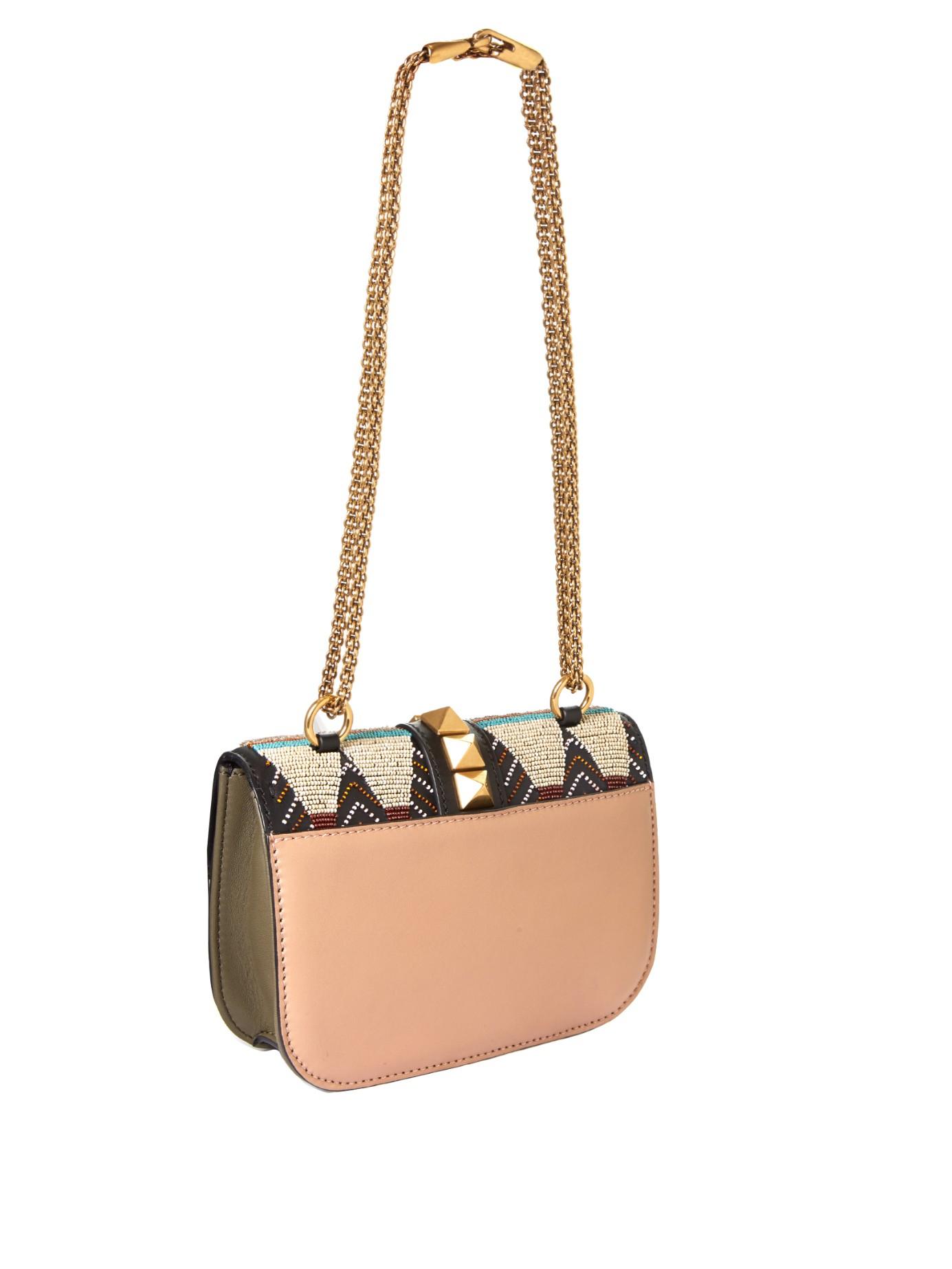 valentino lock medium leather shoulder bag in brown lyst. Black Bedroom Furniture Sets. Home Design Ideas