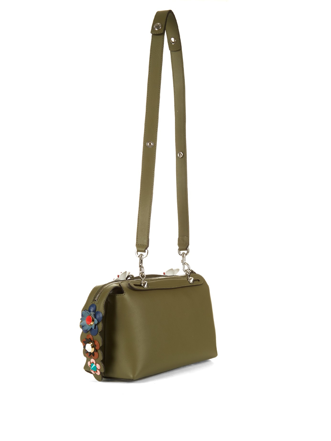 bc12920304ea Lyst - Fendi Olive Leather Floral Detail  by The Way  Small Convertible Top  Handle Bag in Brown