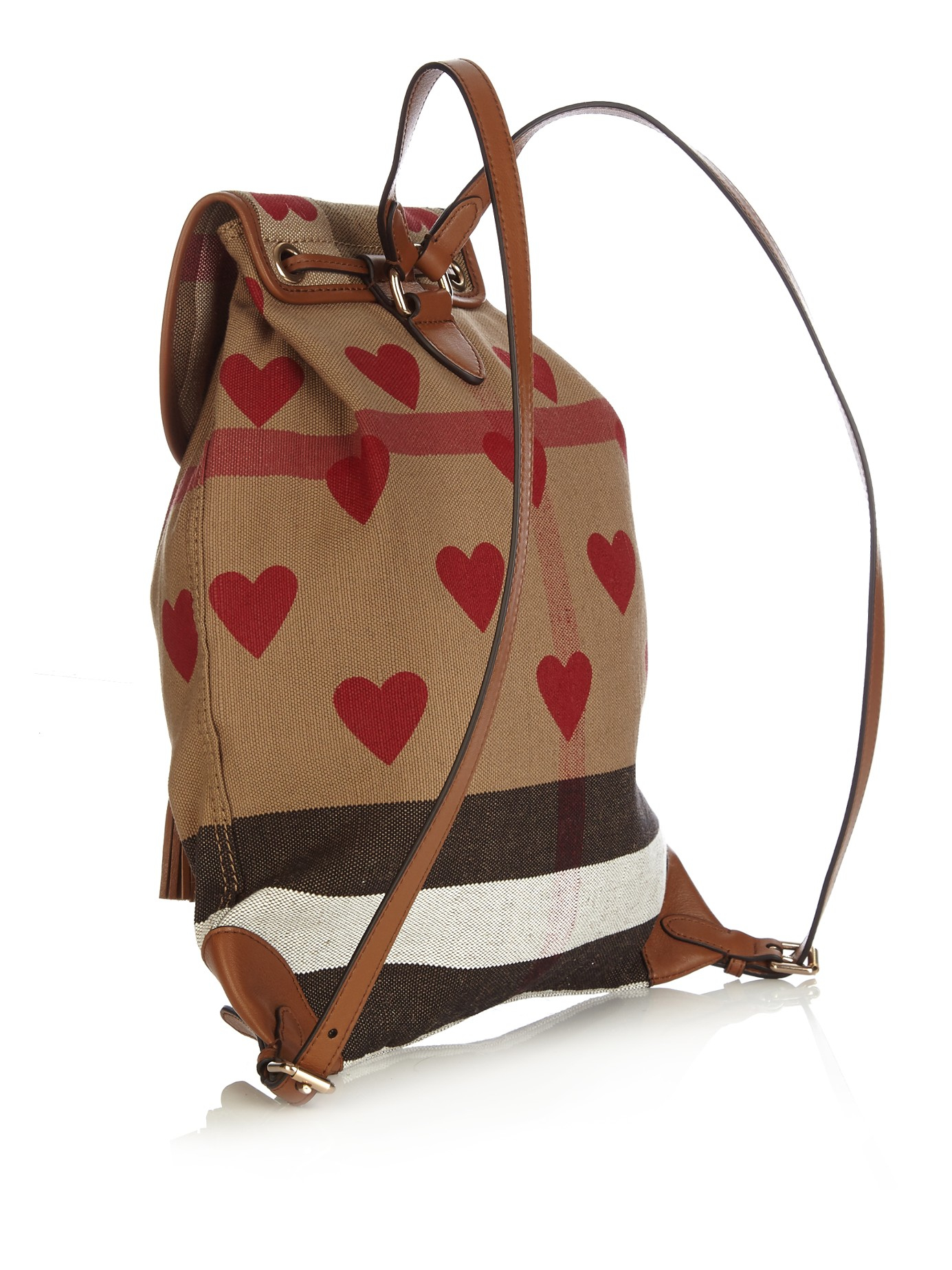 77a9960658 Lyst - Burberry Heart-print Canvas Checked Backpack