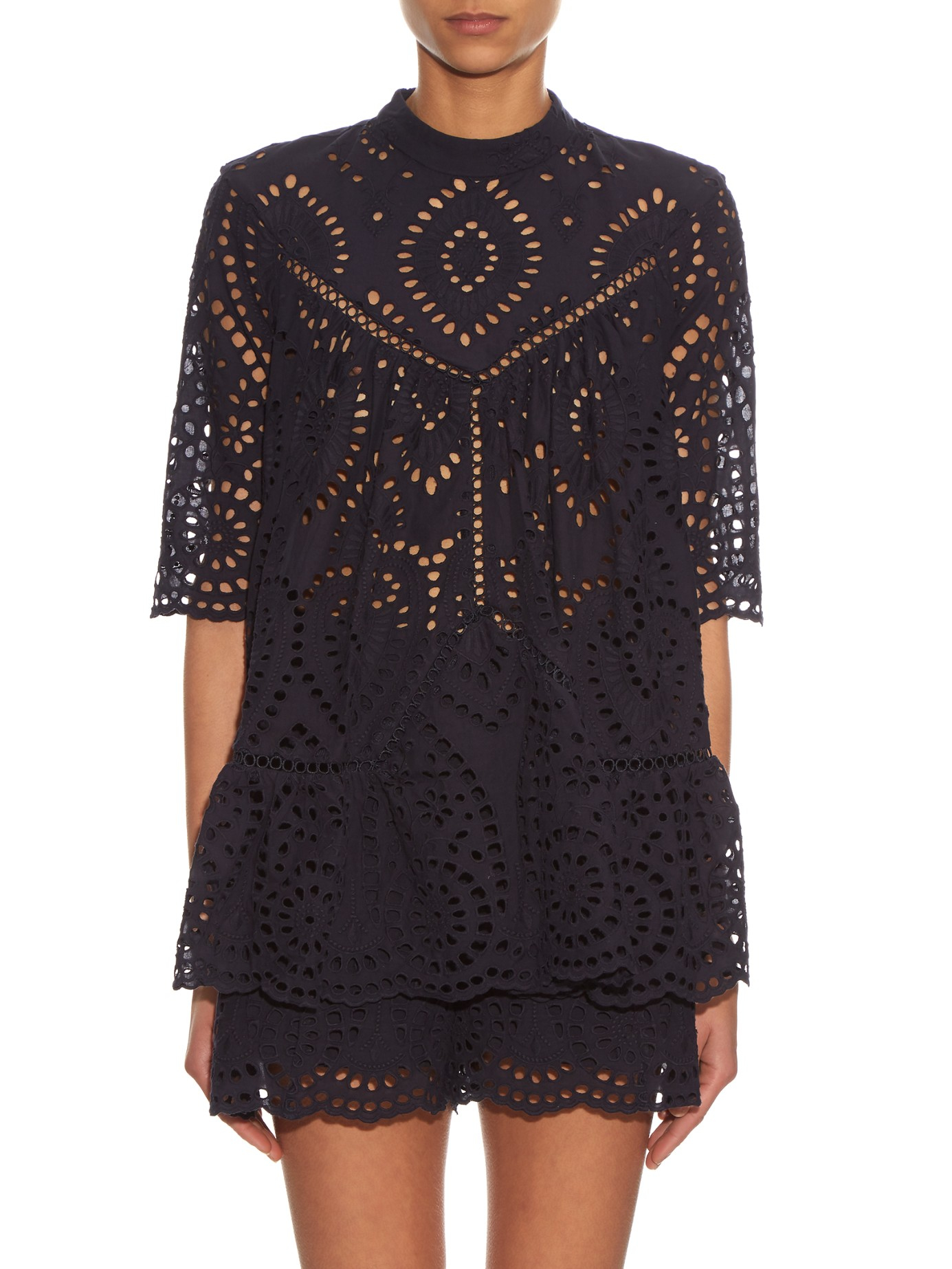Lyst Zimmermann Harlequin Broderie Anglaise Top In Black