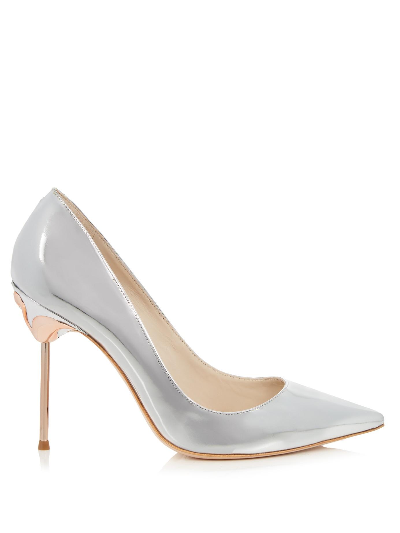 Sophia webster coco flamingo heel metallic leather pumps for Sophia webster wedding shoes