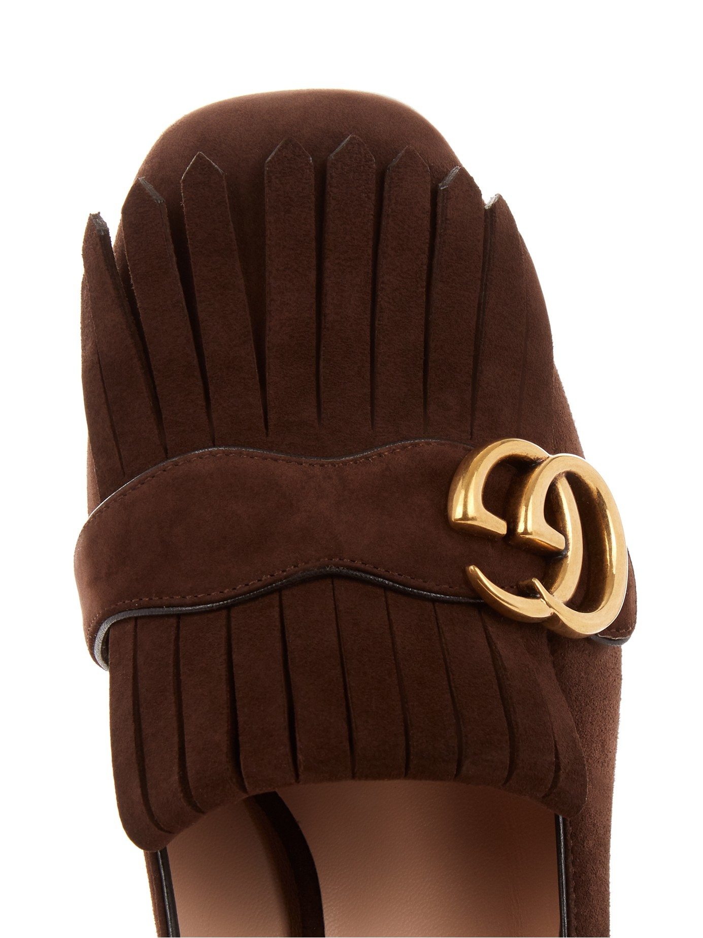 798fb5694a6 Gucci Marmont Fringed Suede Loafers in Brown - Lyst