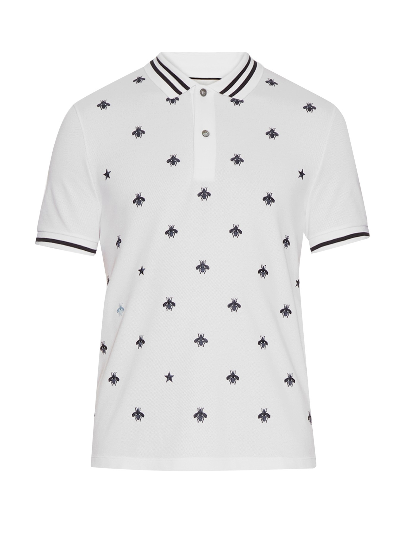 775234ff Gucci Bee And Star-embroidered Cotton Polo Shirt in Black for Men - Lyst