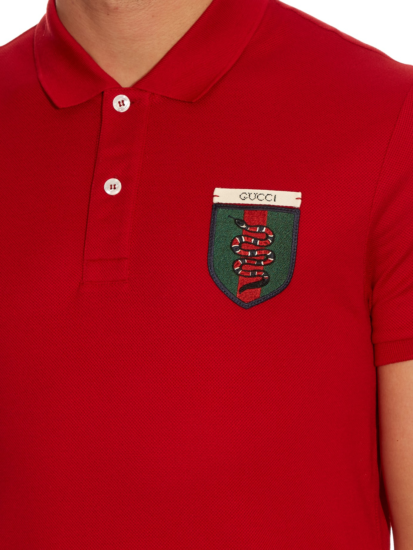dfb6fd5b1b2 Gucci Snake-crest Cotton-blend Polo Shirt for Men - Lyst