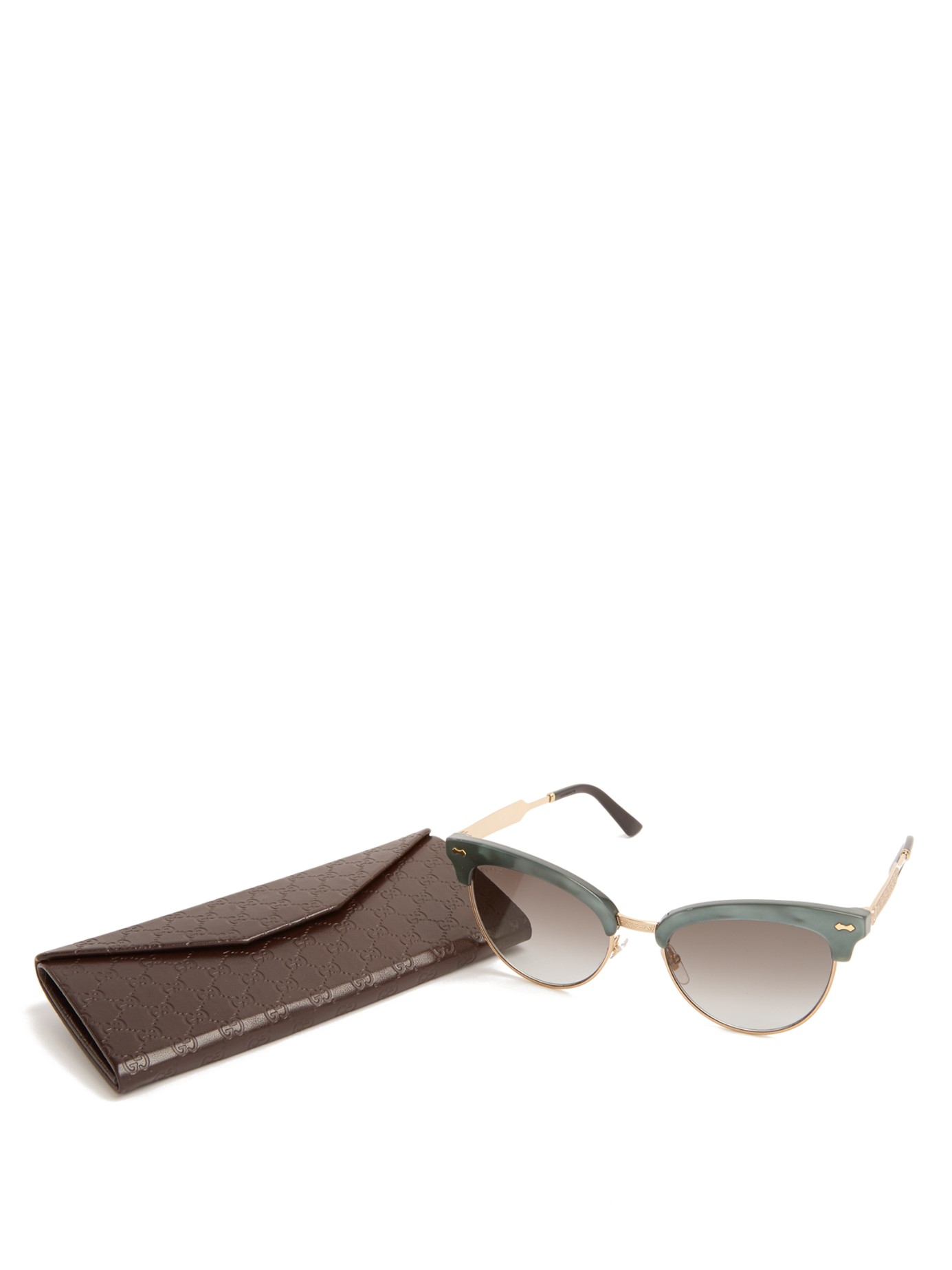 Gucci Glasses Half Frame : Gucci Cat-eye Half-frame Sunglasses in Gray Lyst