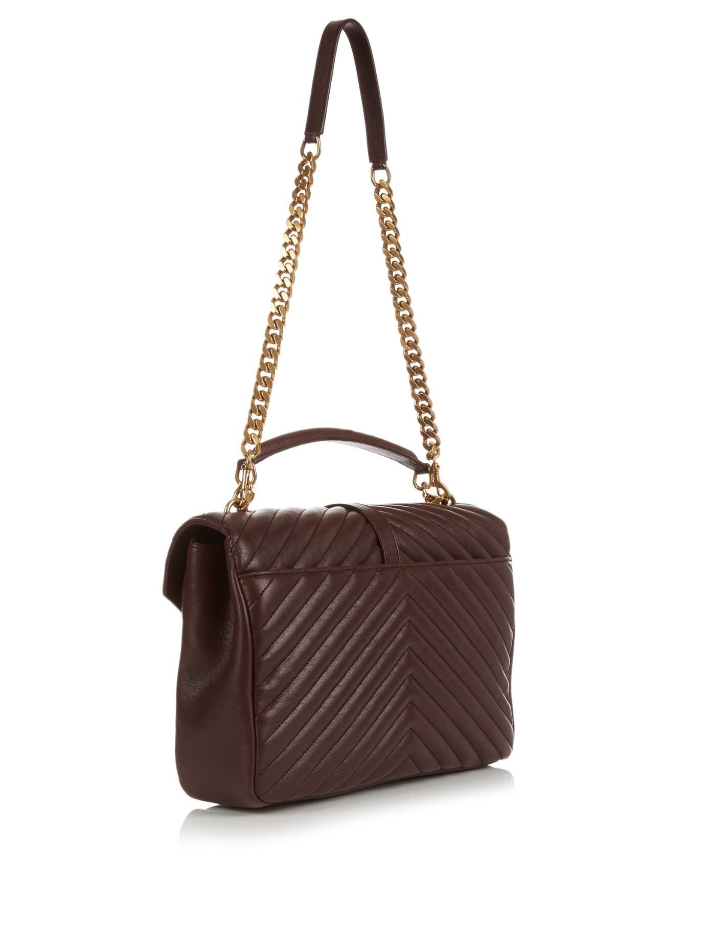 Saint laurent College Large Quilted Leather Shoulder Bag . 743dc77cb6f04