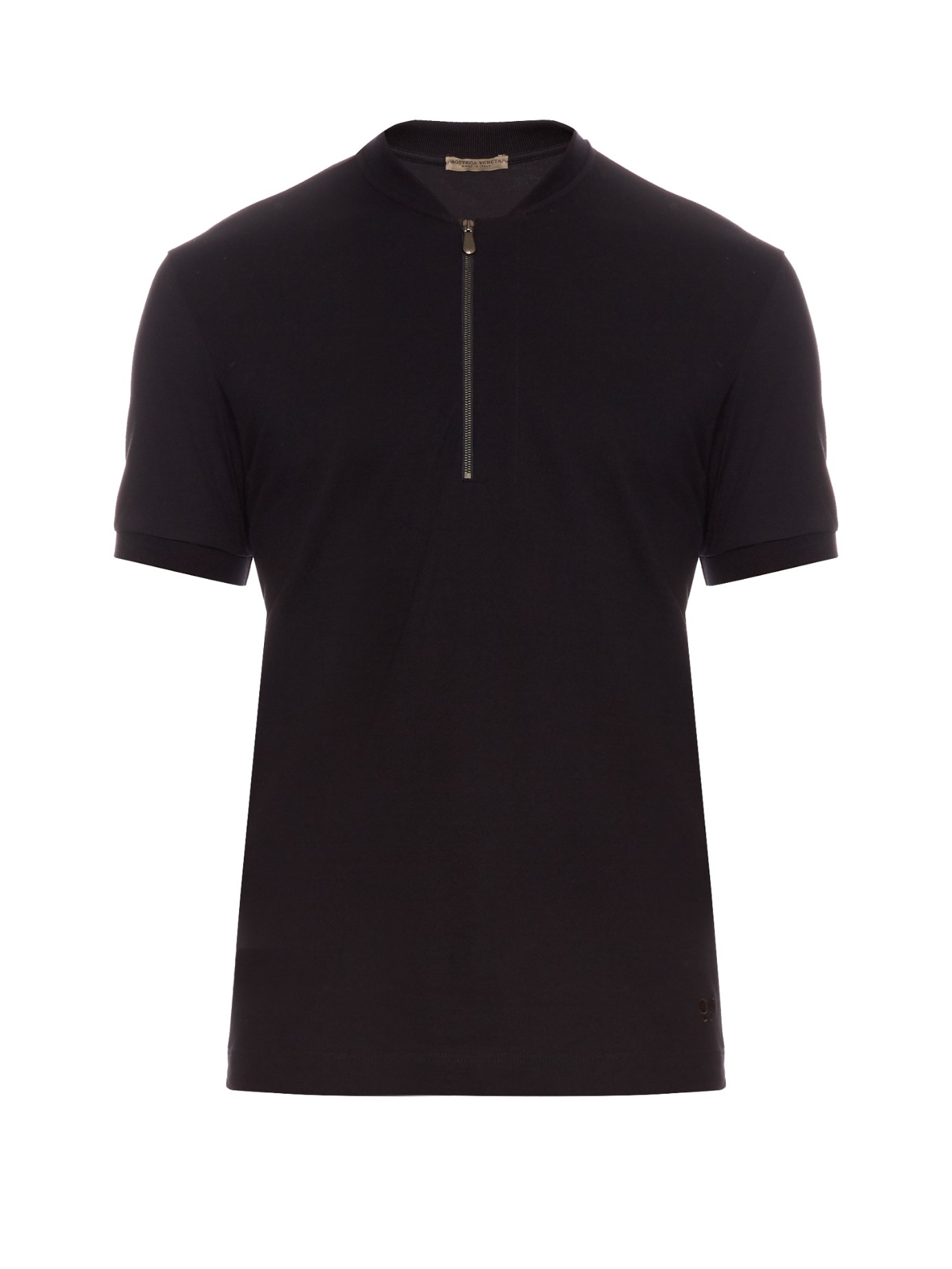 Bottega veneta logo embroidered cotton piqu polo shirt in for Bottega veneta t shirt