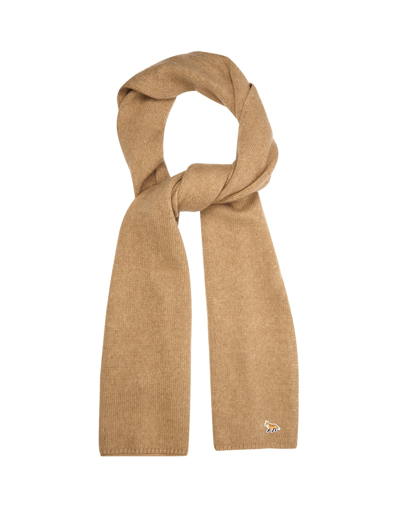 d3823f54178 Lyst - Maison Kitsuné Ribbed-knit Wool And Camel-blend Scarf for Men