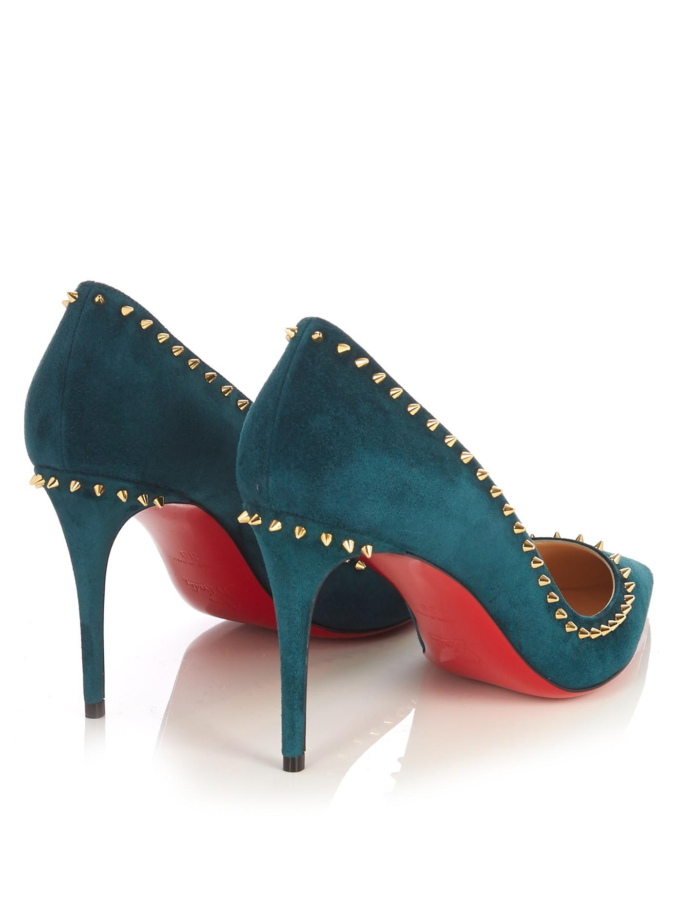 46df91777bf5 Lyst - Christian Louboutin Anjalina 85mm Suede Pumps in Green