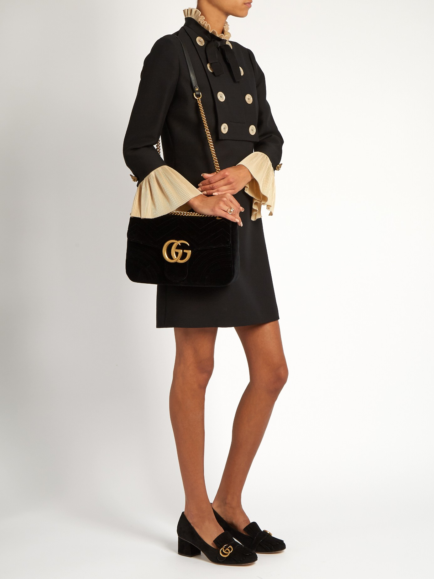 Gucci Gg Marmont Chevron Velvet Shoulder Bag In Black Lyst