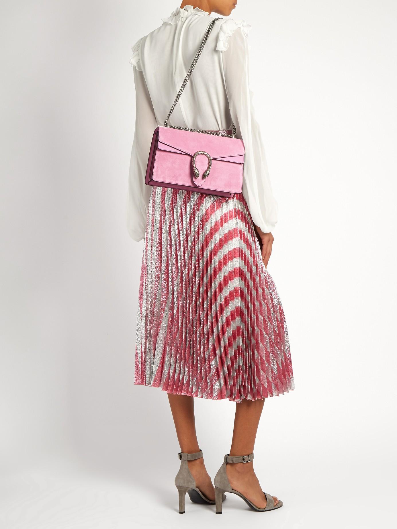 9d140659ceb3 Gucci Dionysus Suede Shoulder Bag in Pink - Lyst